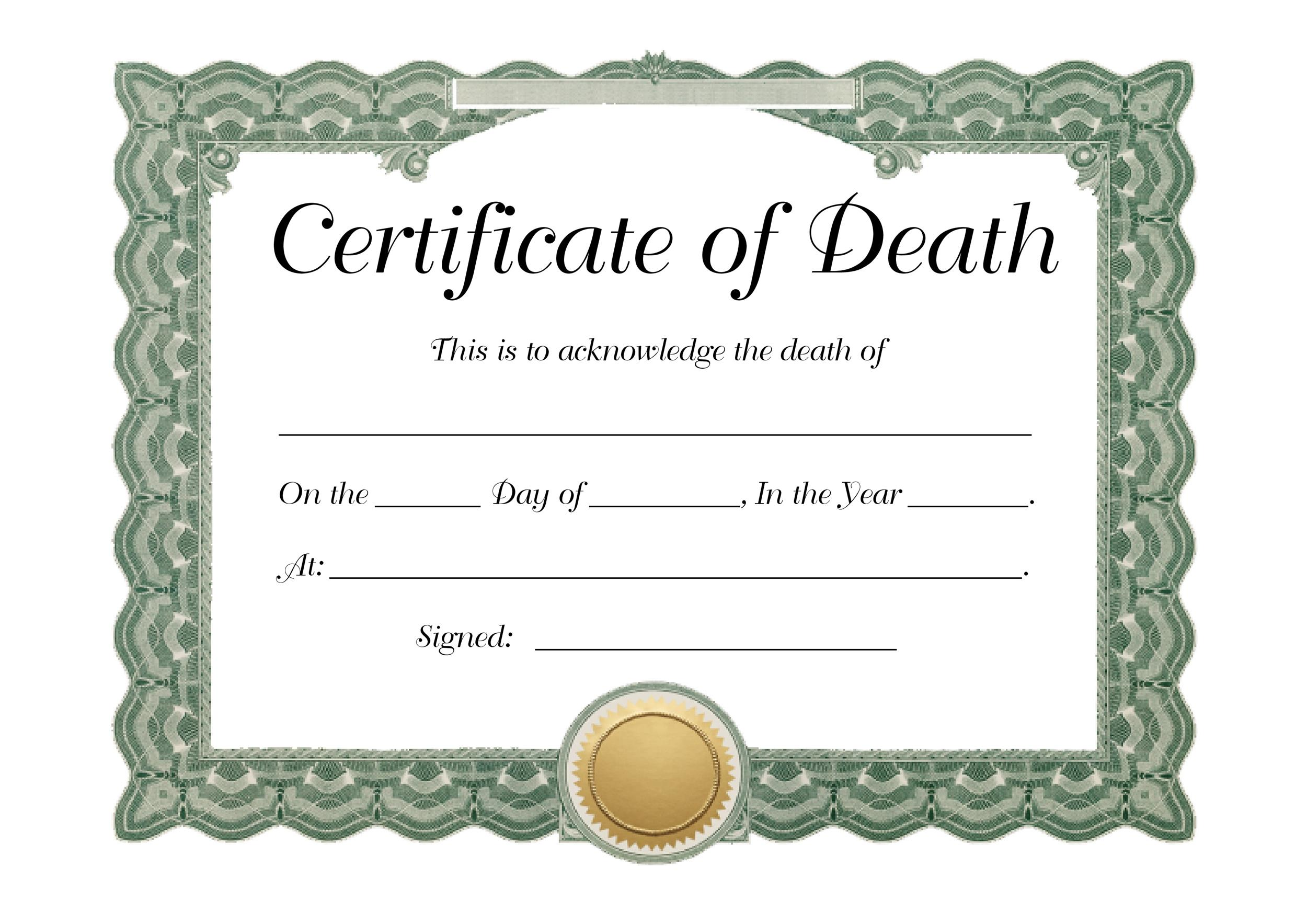Free death certificate template 21