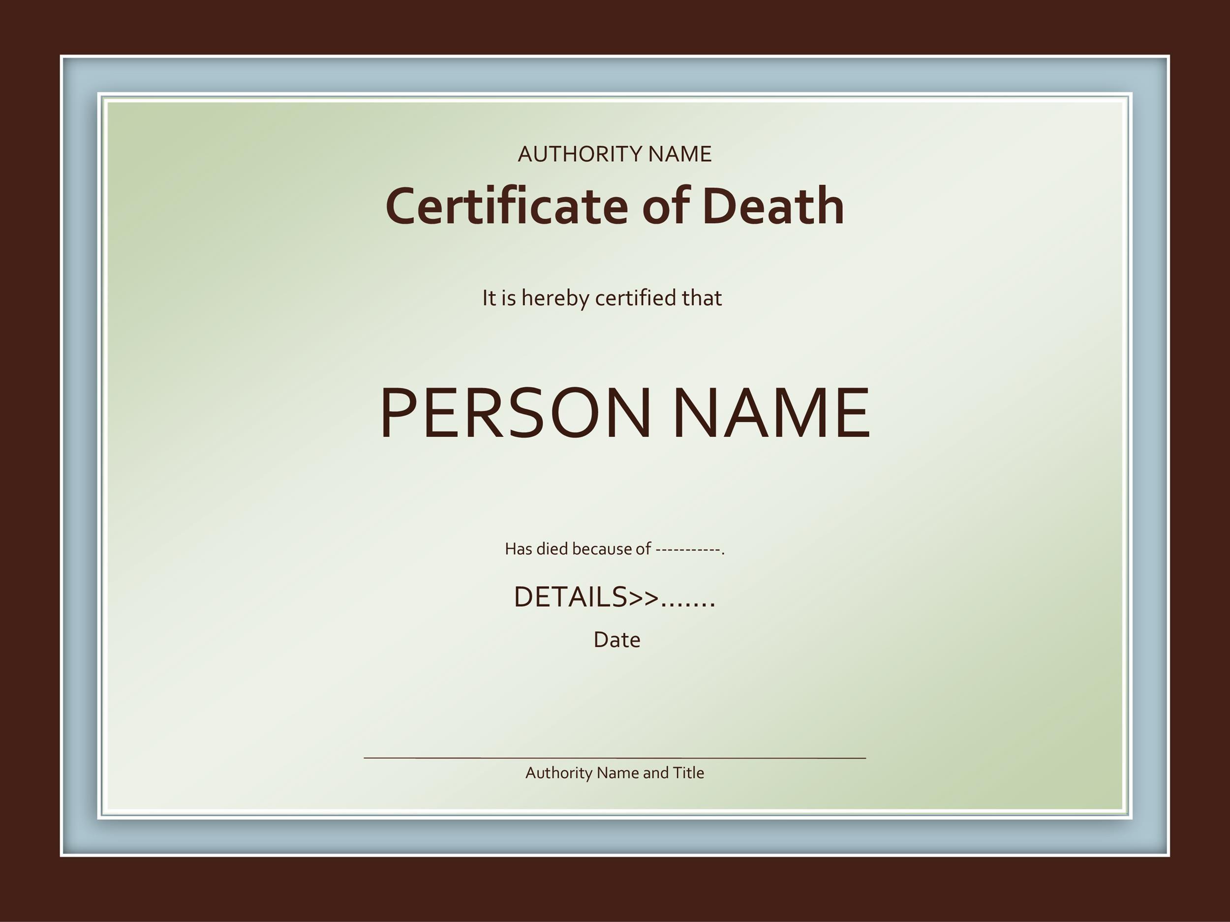 Free death certificate template 22