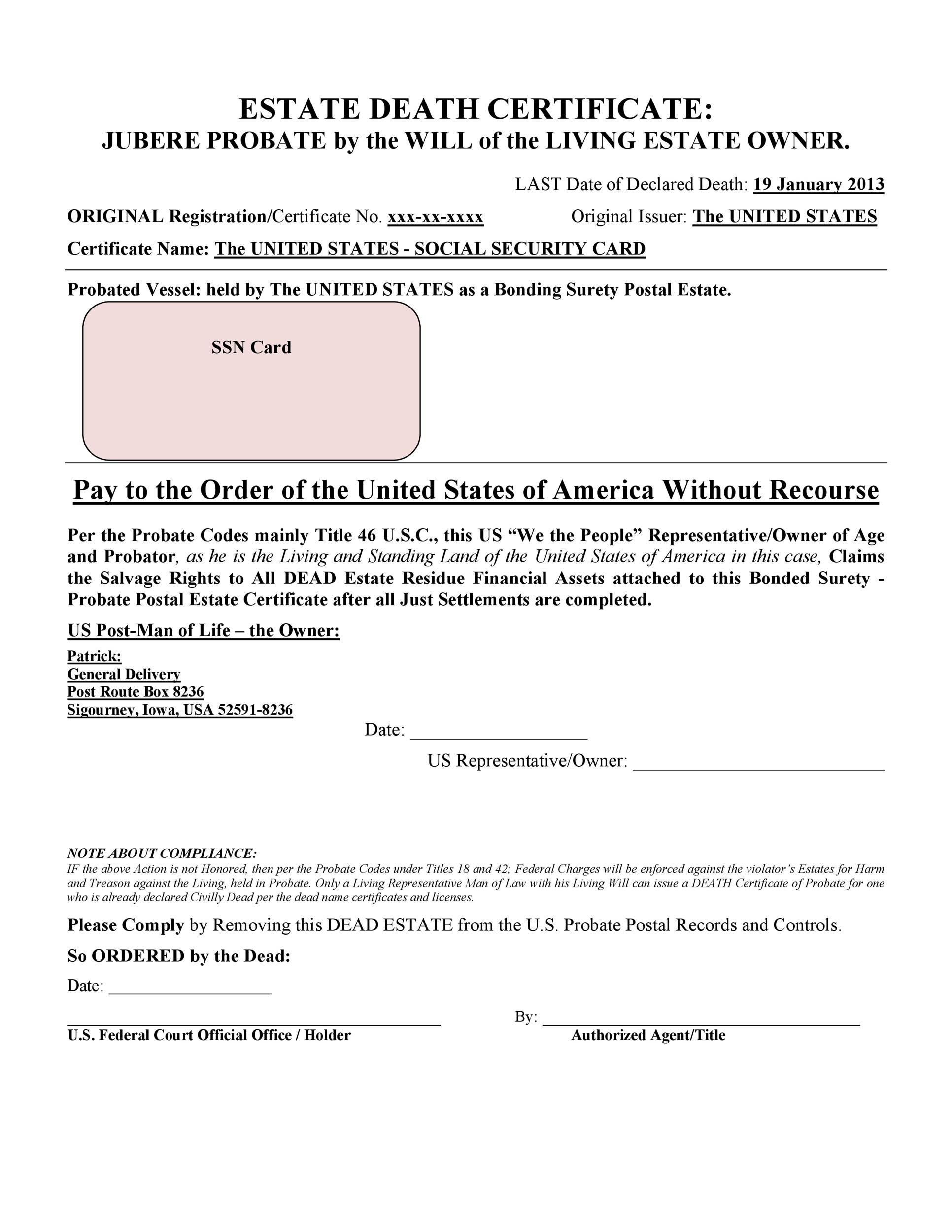 Free death certificate template 23
