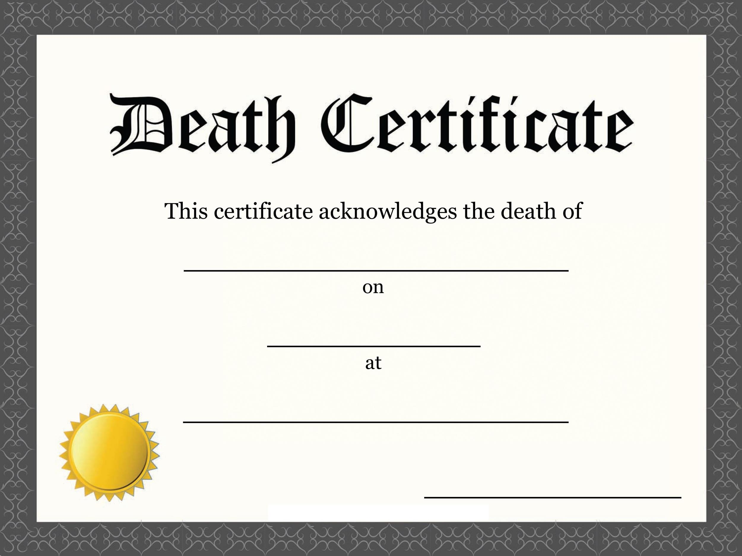 Free death certificate template 26