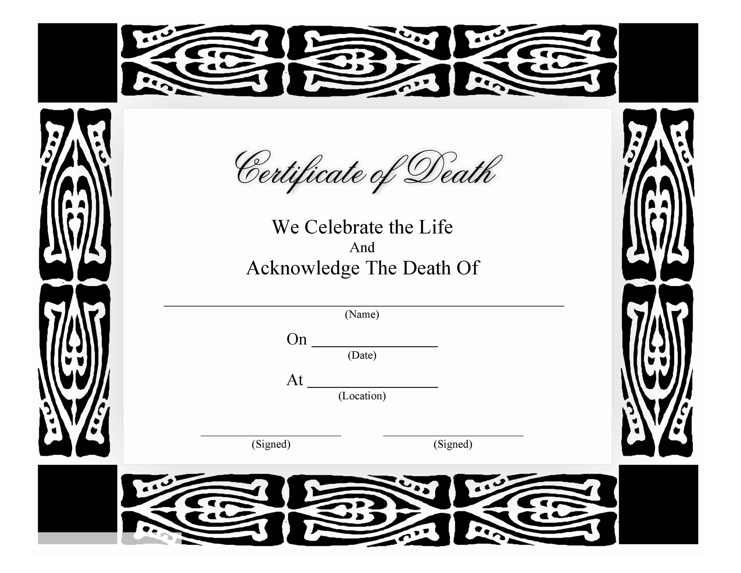 Free death certificate template 27