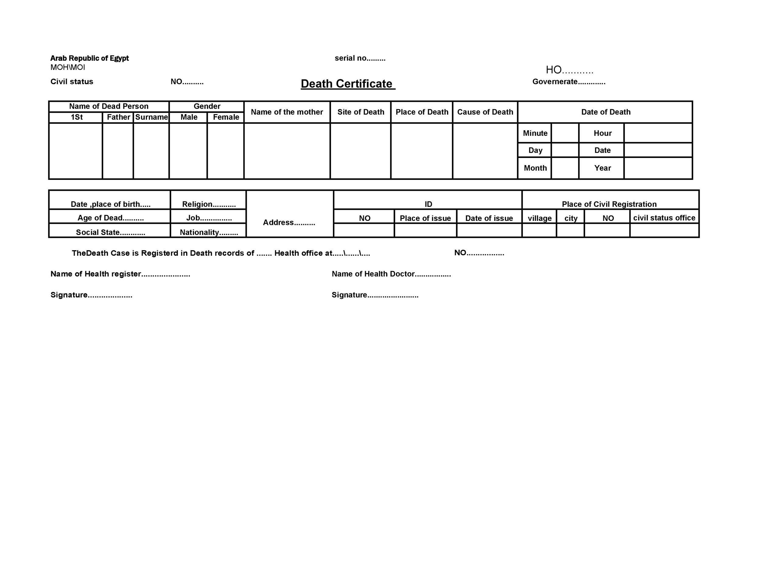 Free death certificate template 29