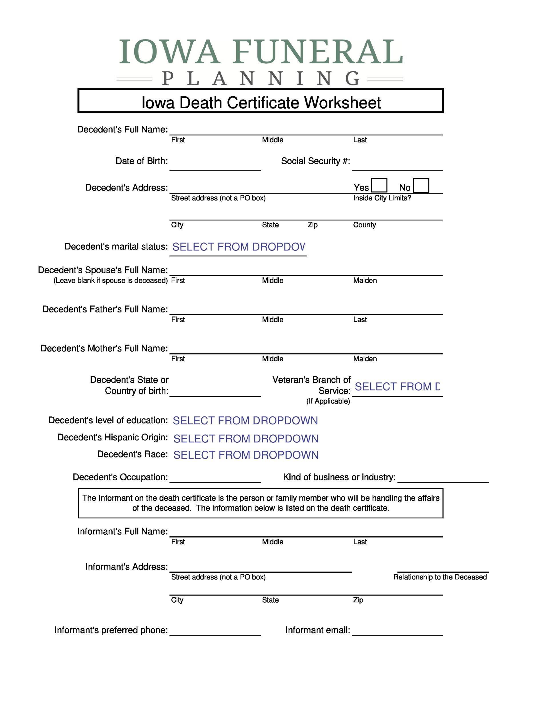 Free death certificate template 31