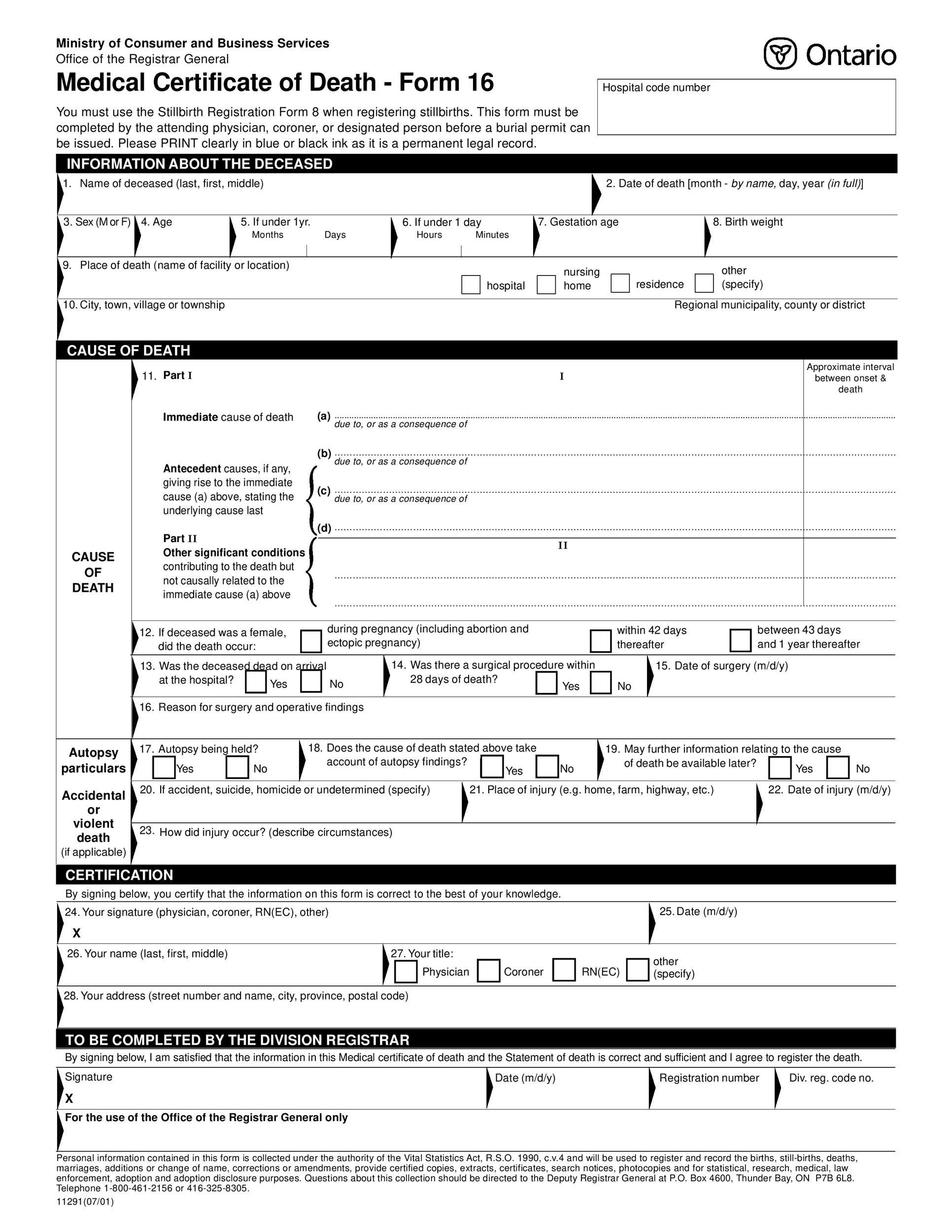 Free death certificate template 33