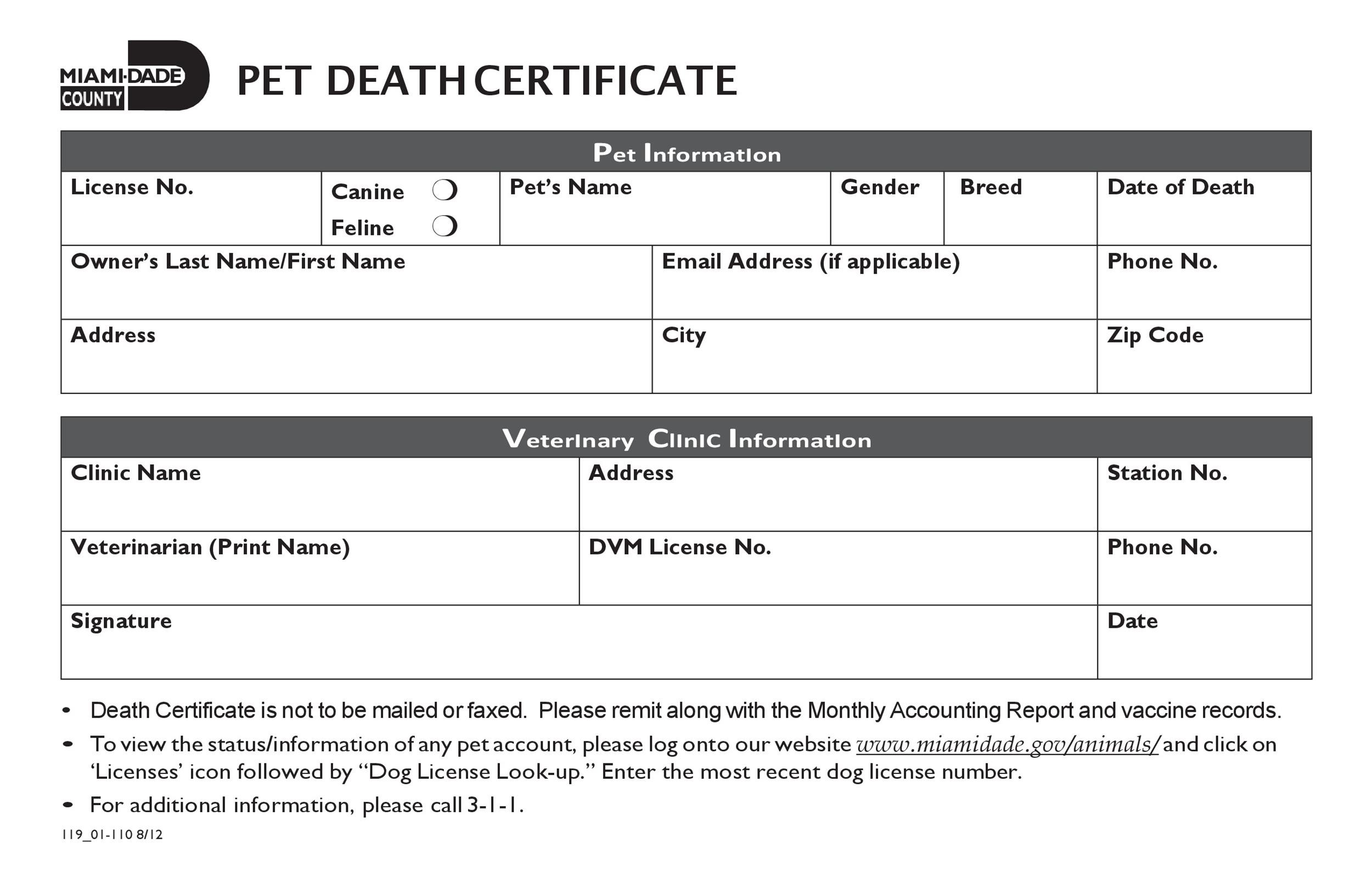 Free death certificate template 34