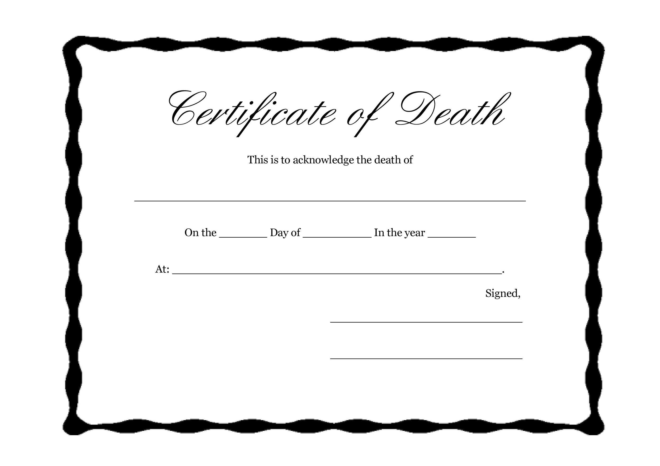Free death certificate template 35
