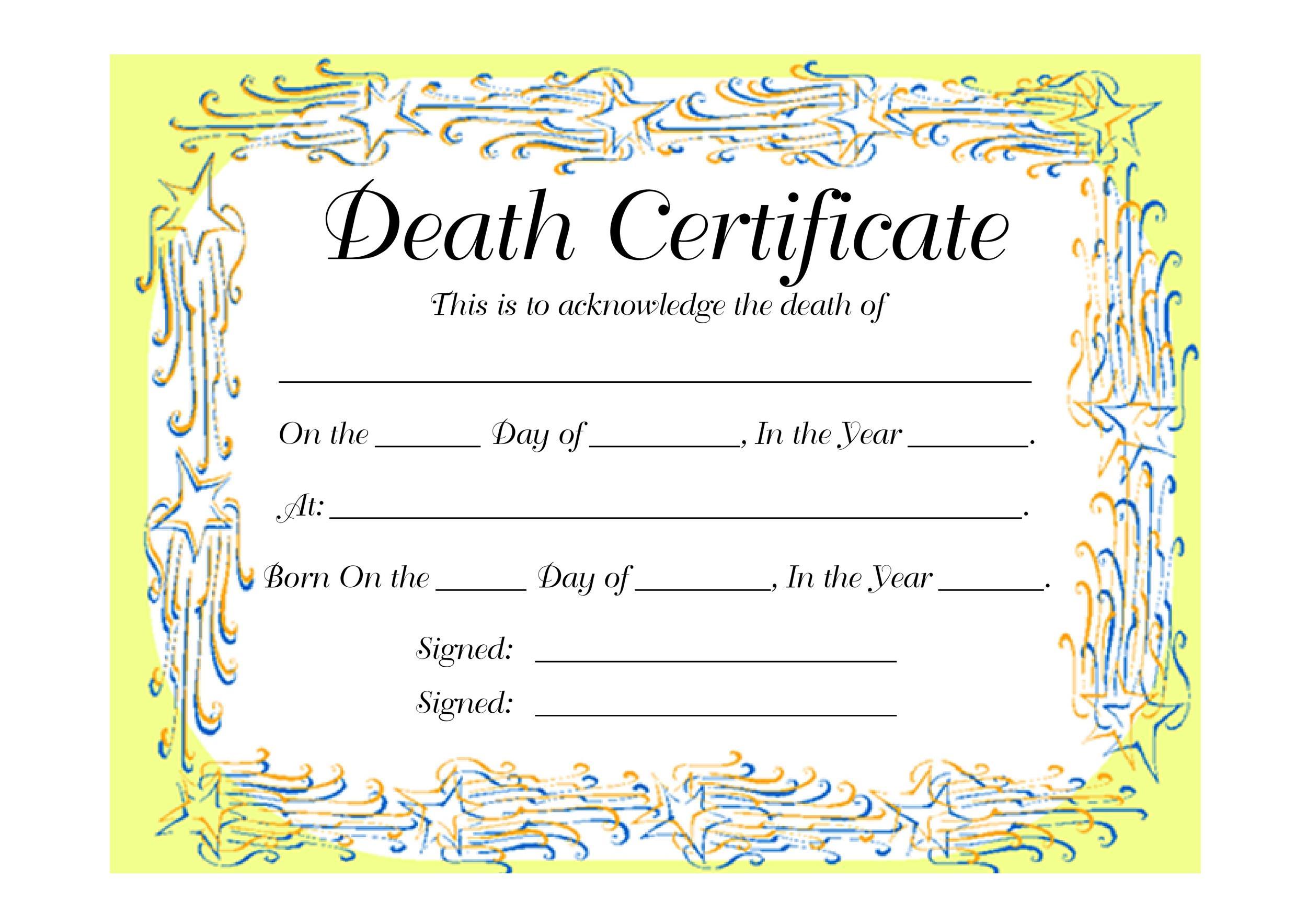 Free death certificate template 36