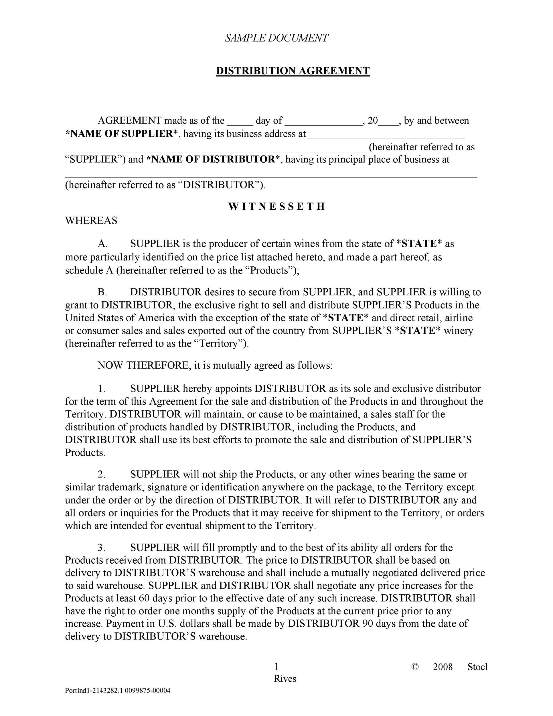 Free distribution agreement 01
