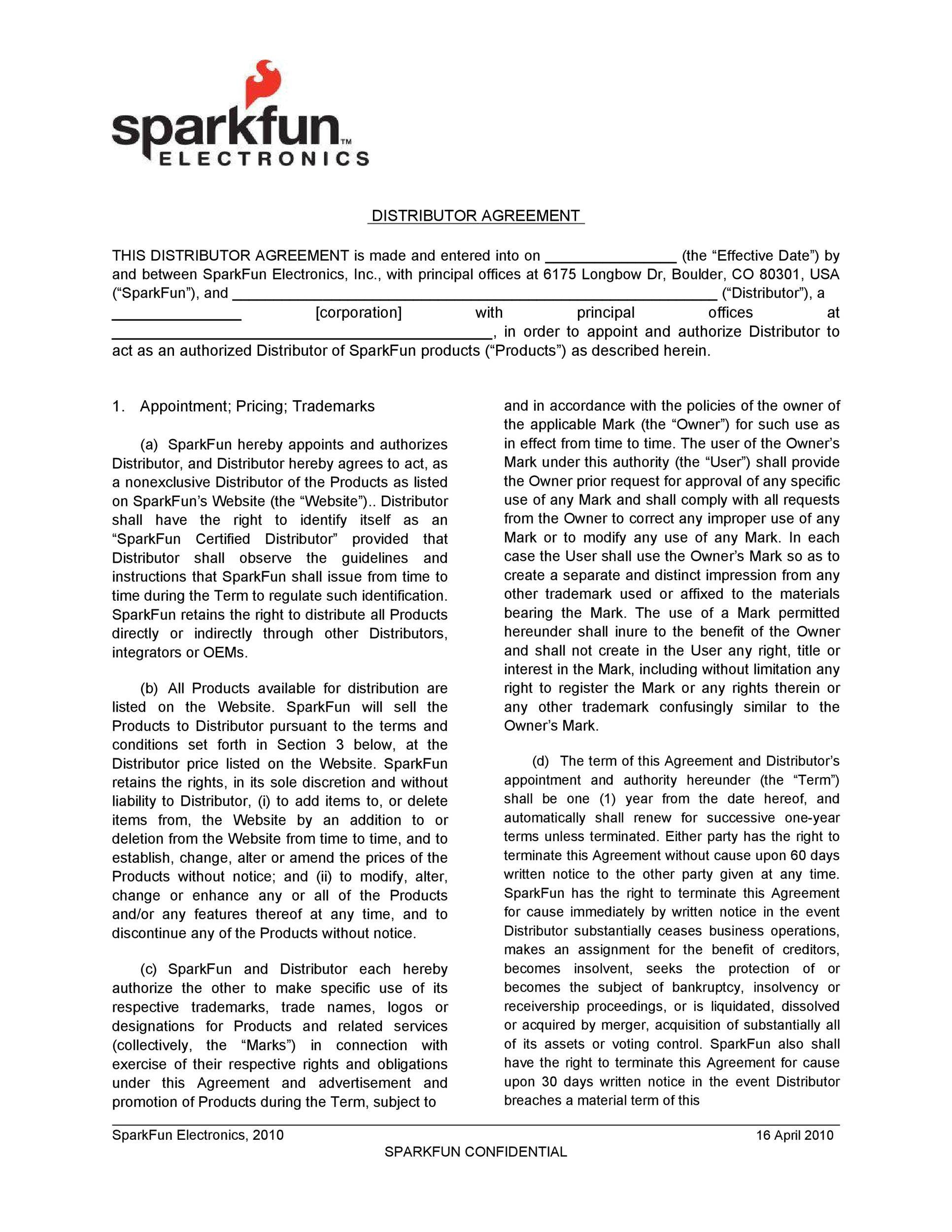 Free distribution agreement 05