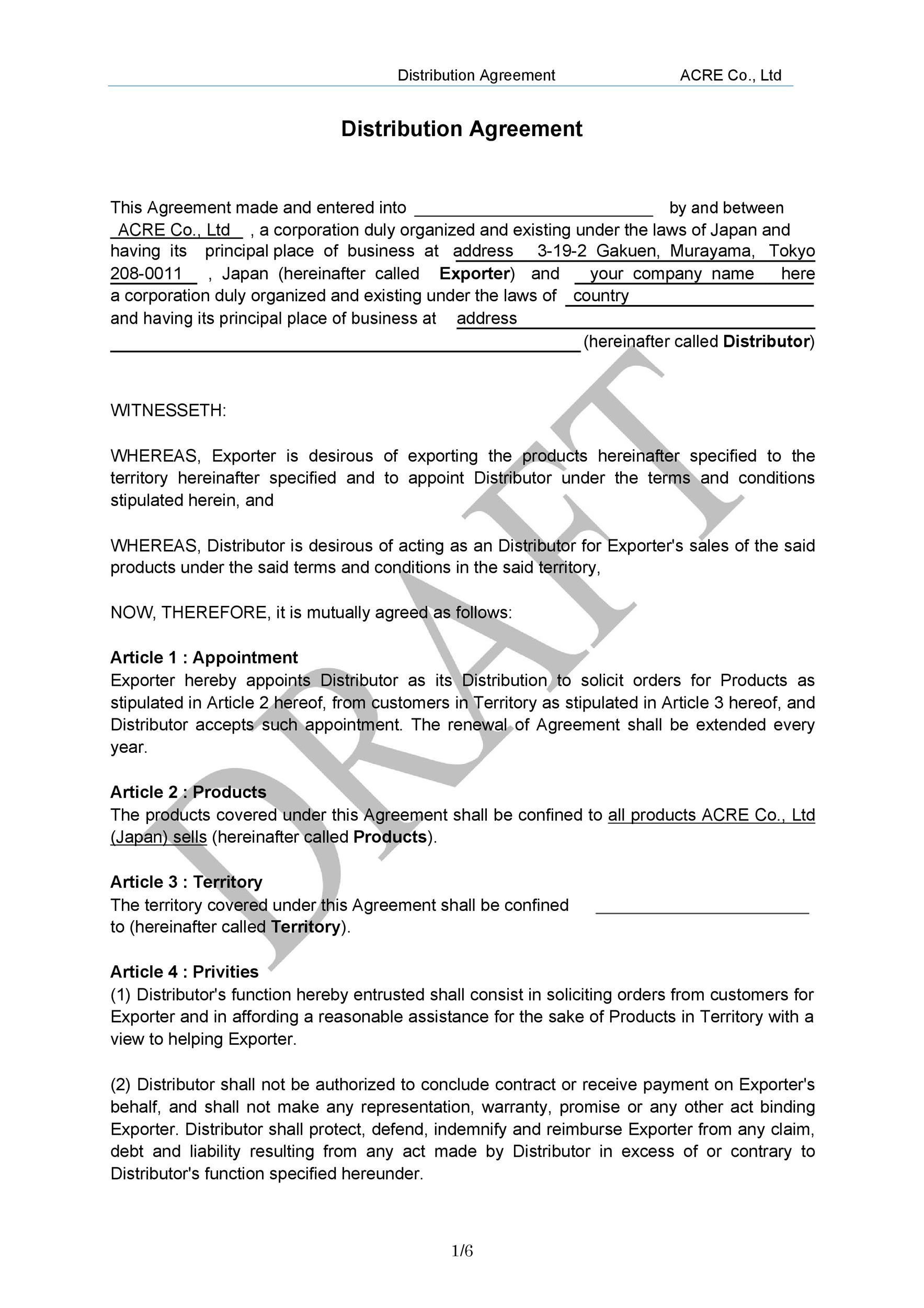 Free distribution agreement 06