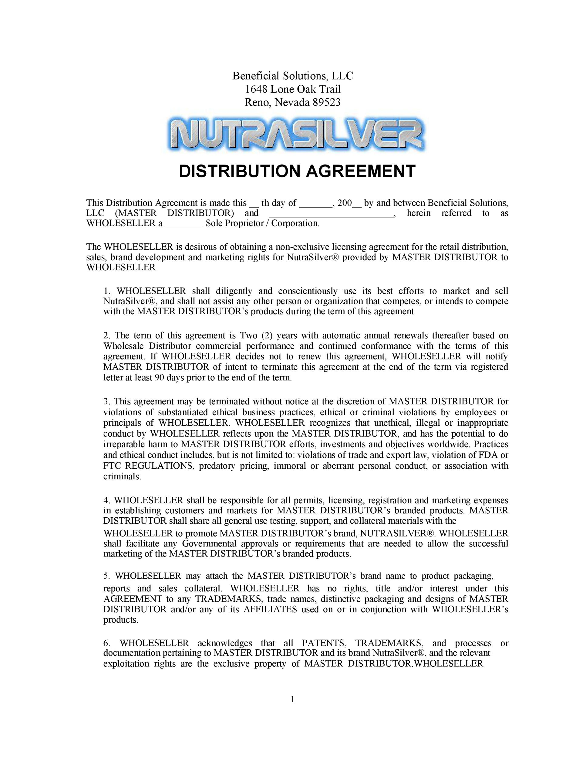 Free distribution agreement 08