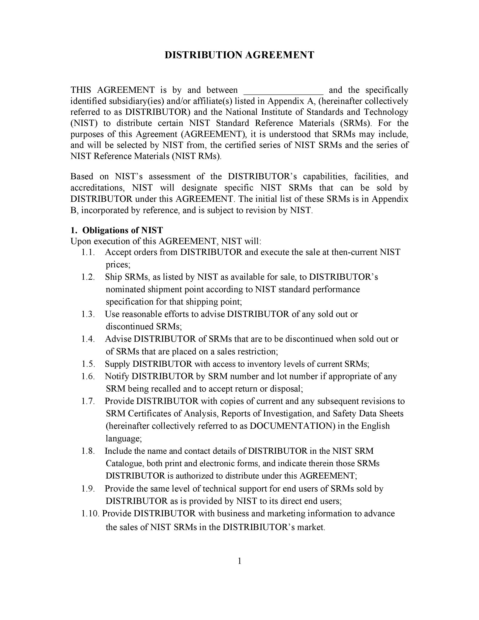 Free distribution agreement 09
