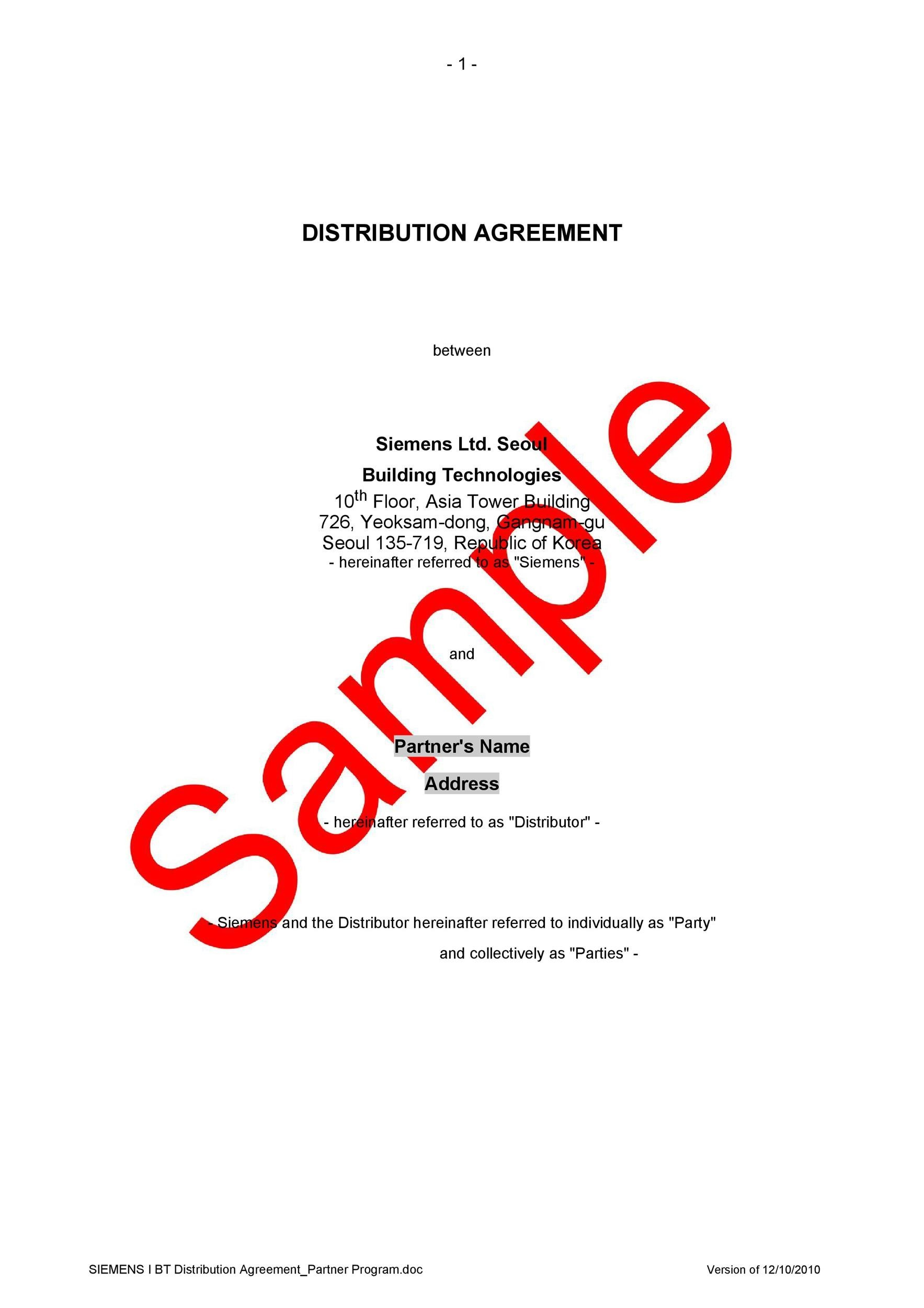 49 Best Free Distribution Agreement Templates ᐅ Template Lab