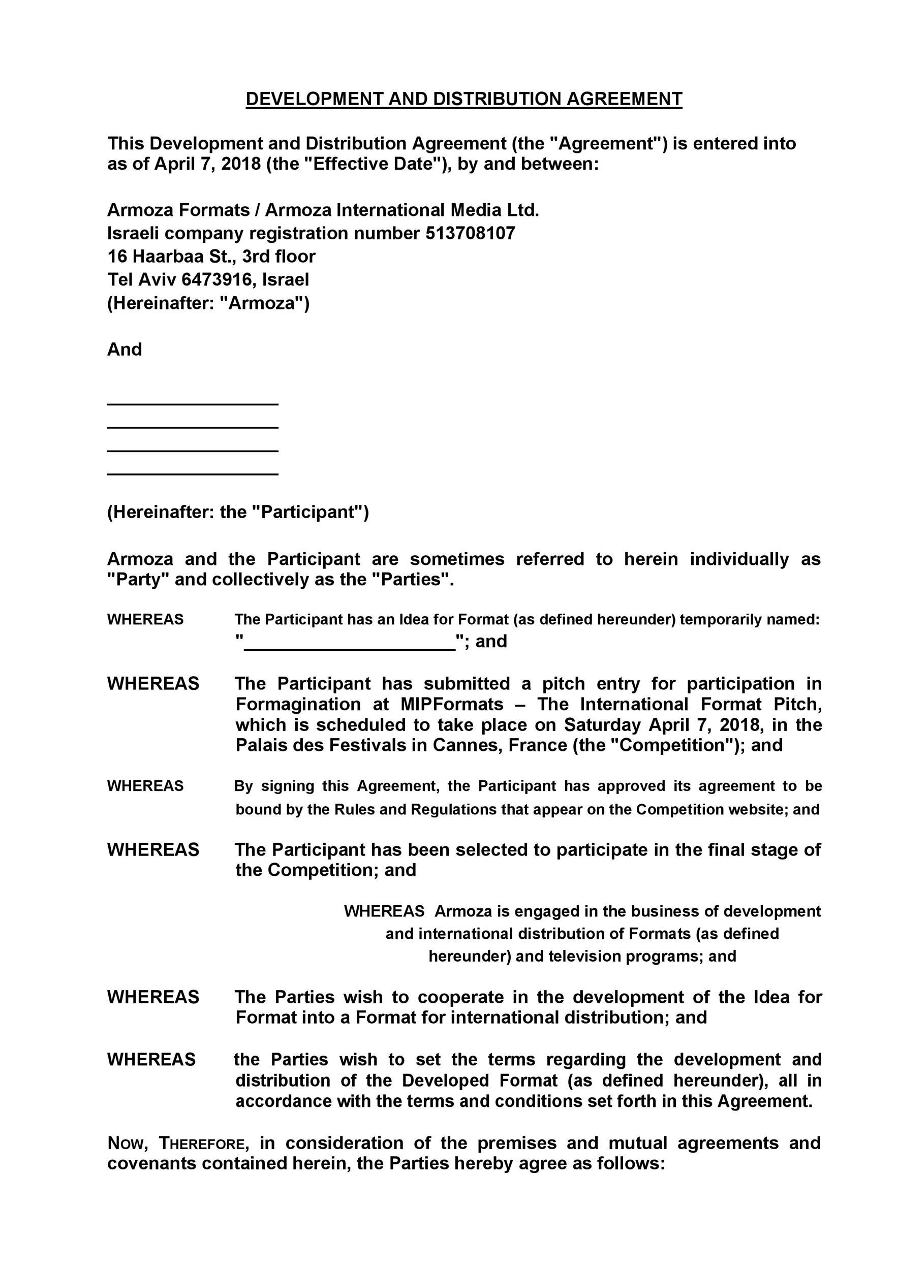 Free distribution agreement 12