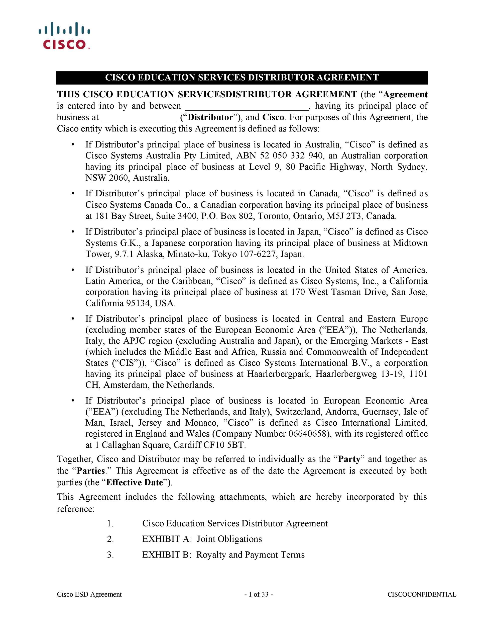 Free distribution agreement 14