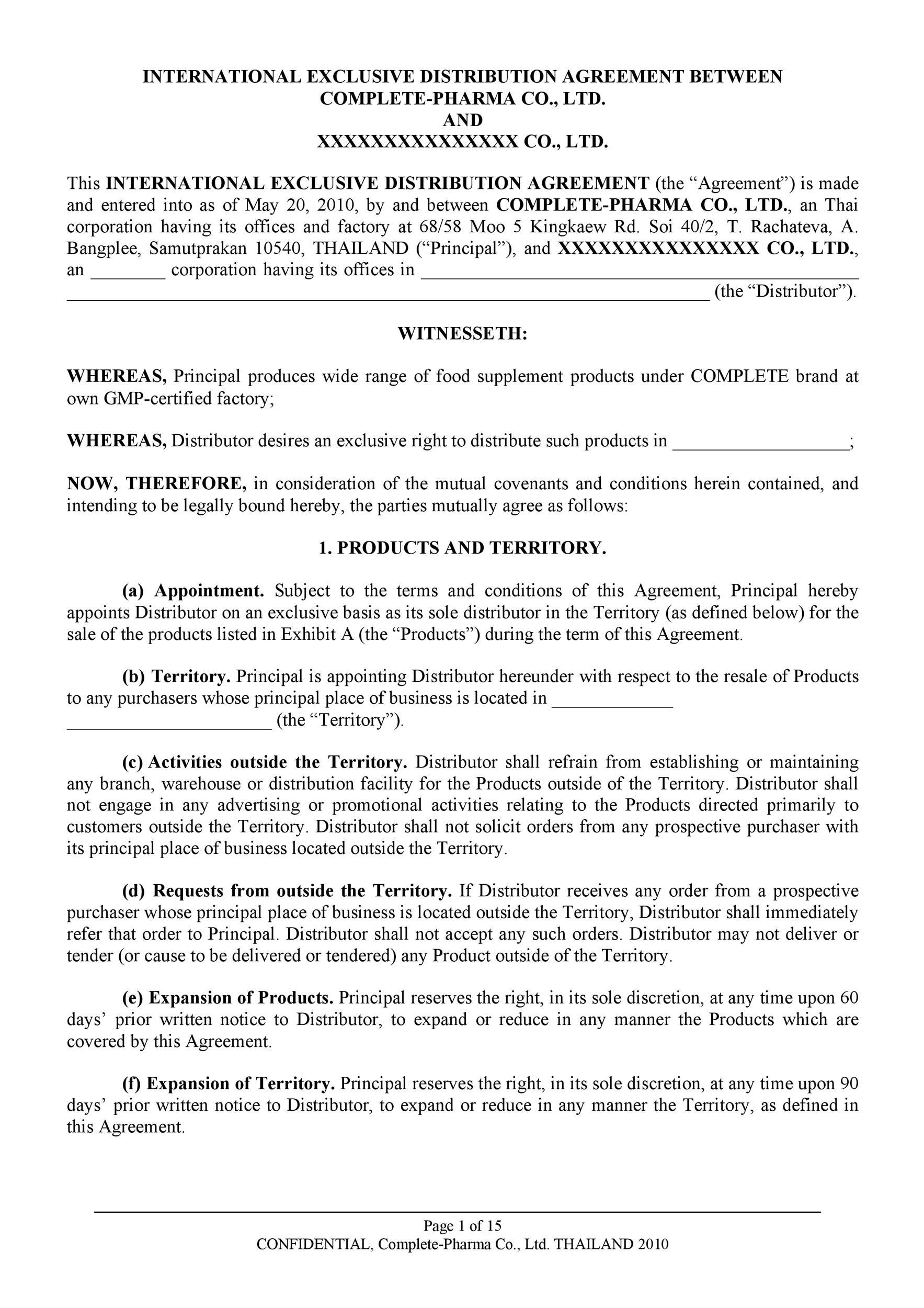 Free distribution agreement 20