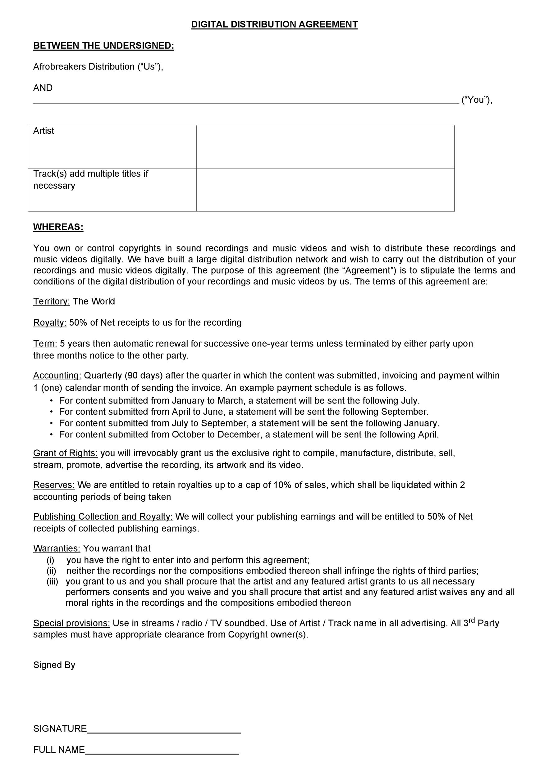 Free distribution agreement 22