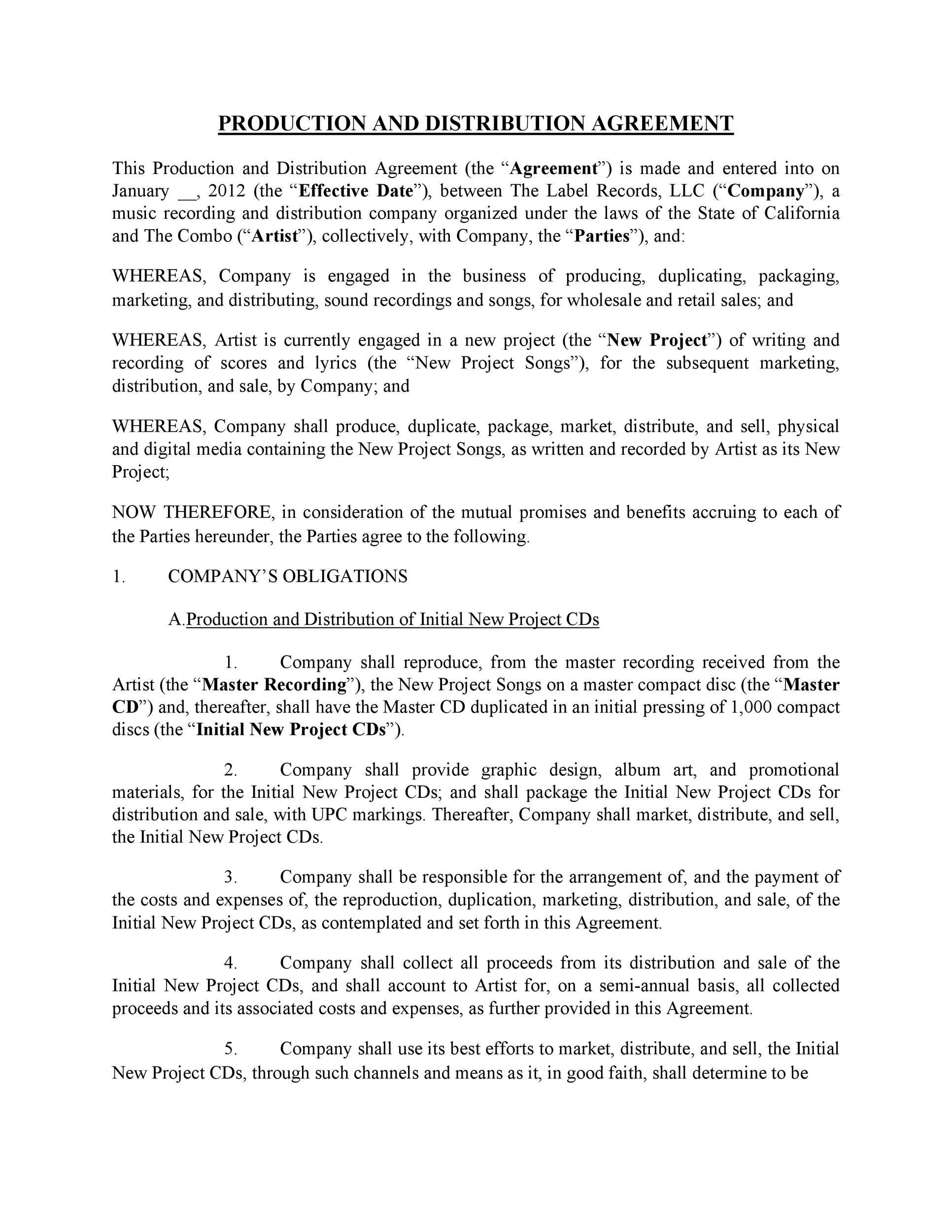 Free distribution agreement 24
