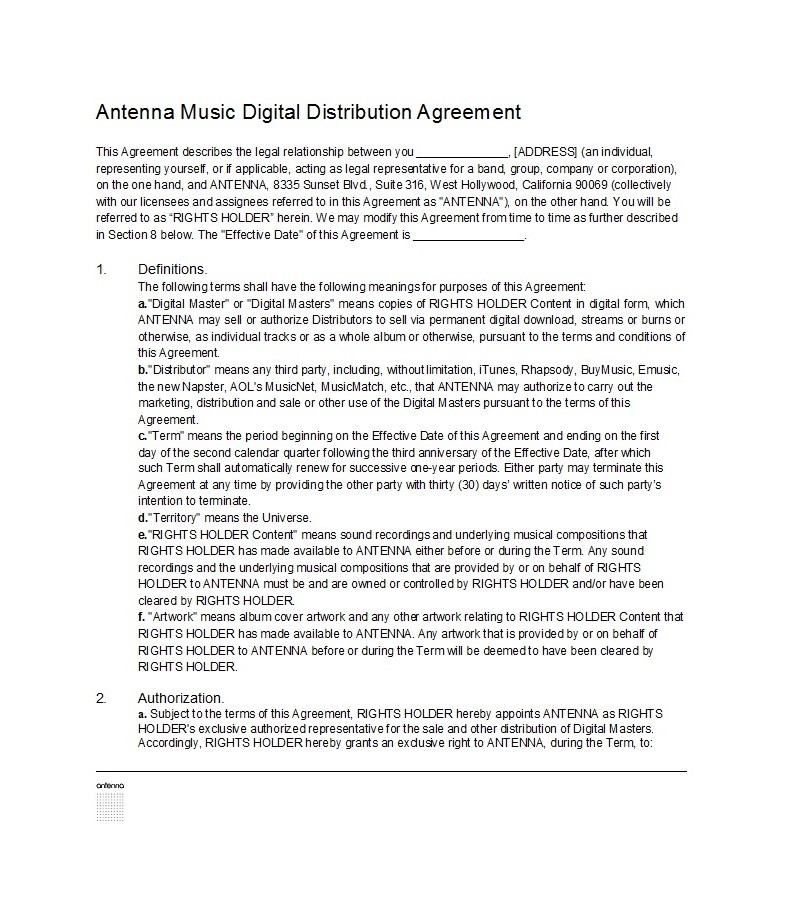 Free distribution agreement 27