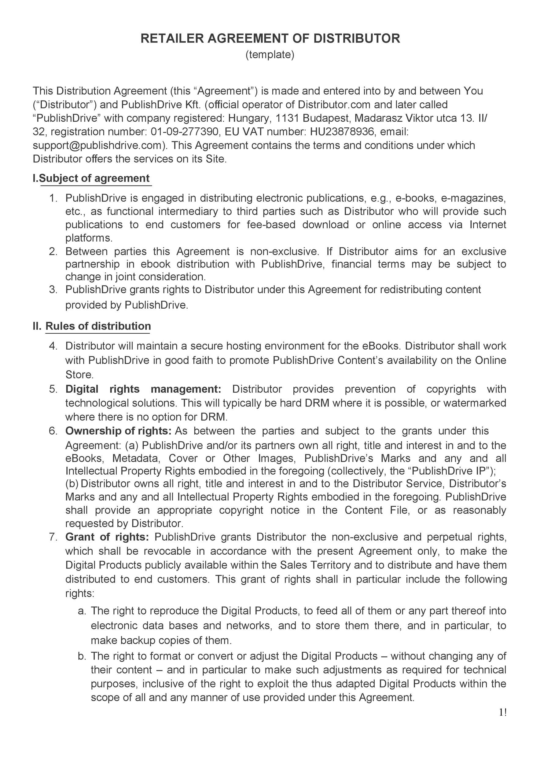 Free distribution agreement 28