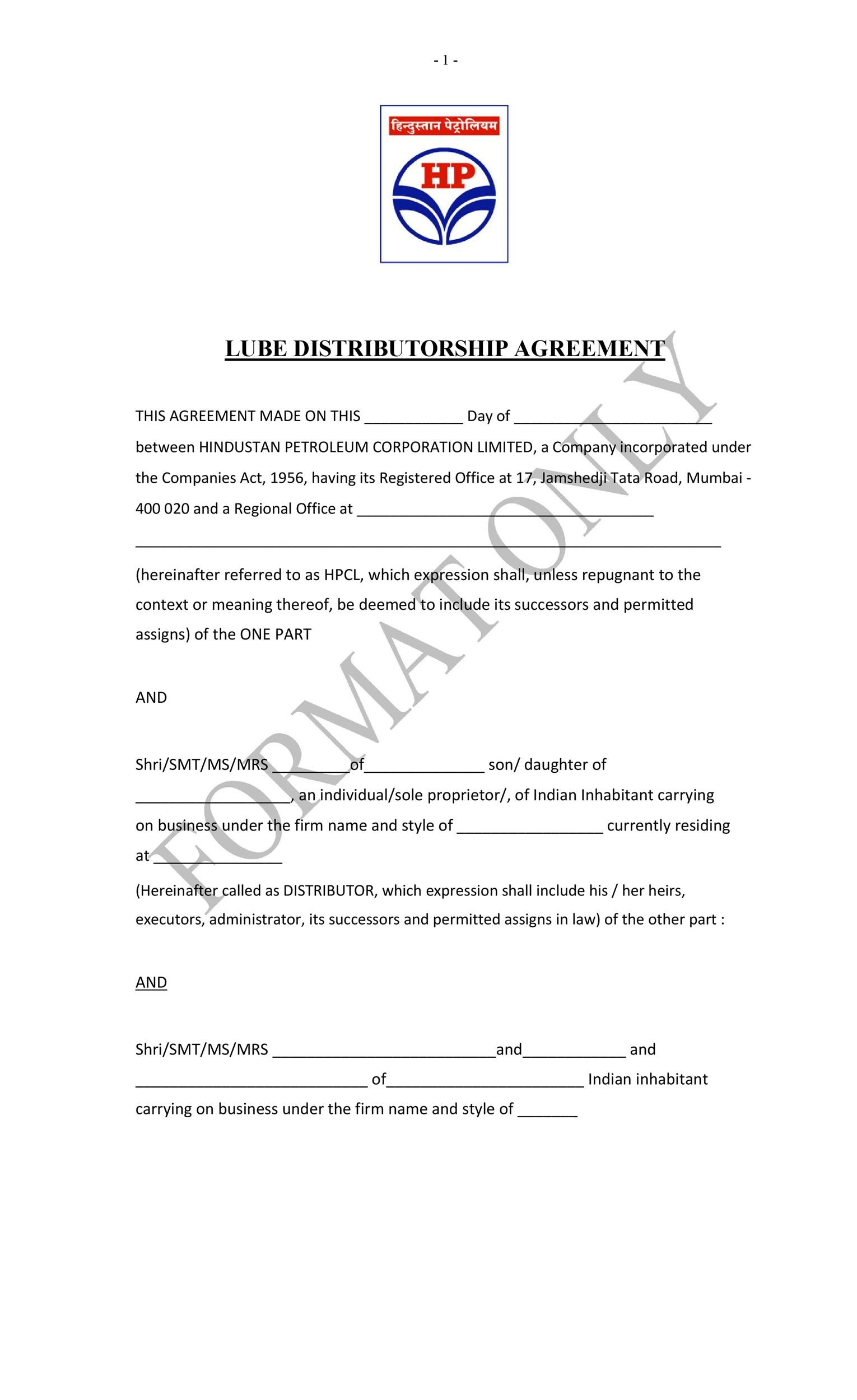 Free distribution agreement 30