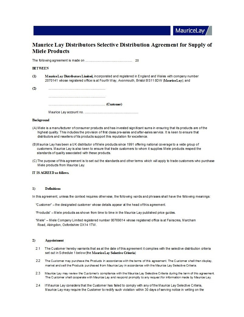 Free distribution agreement 31