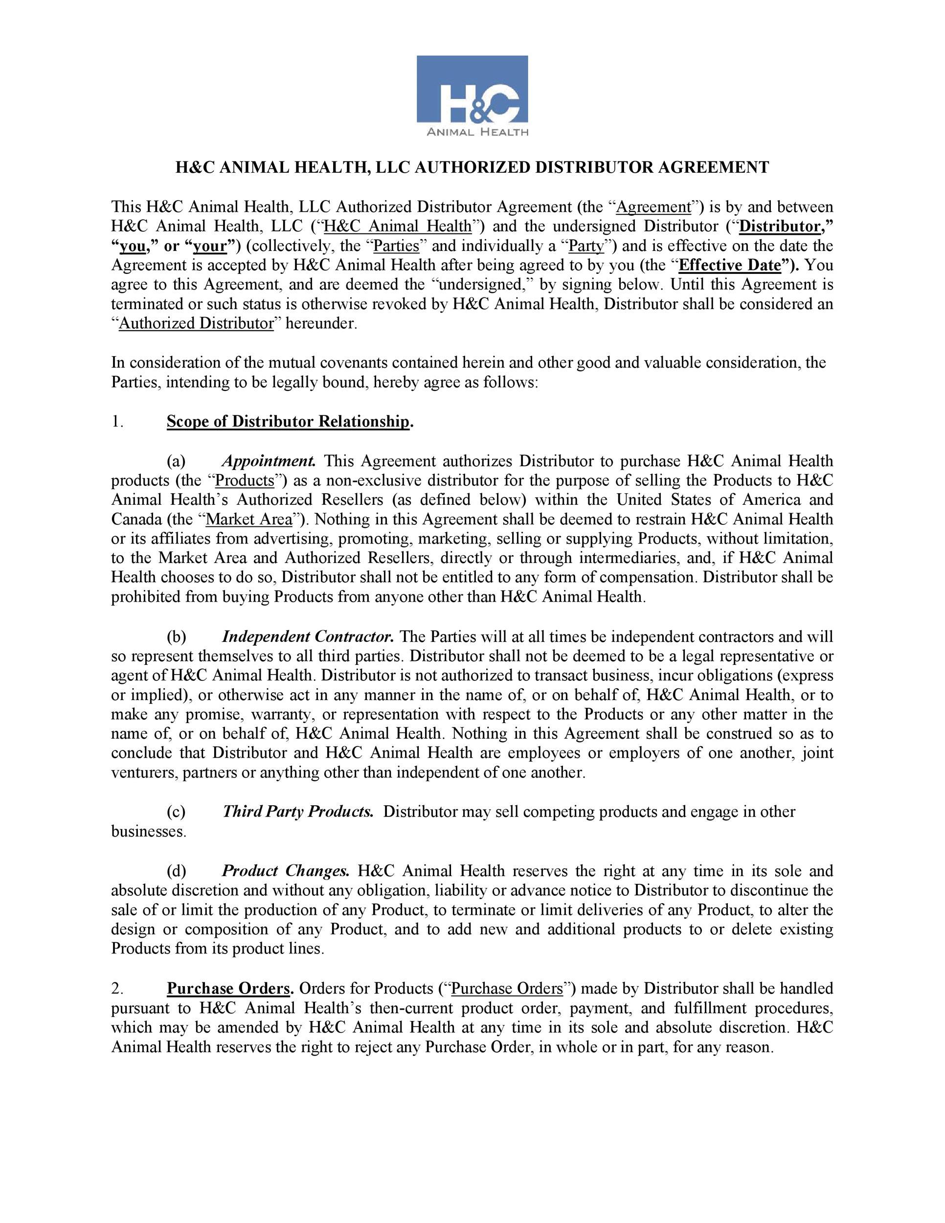 Free distribution agreement 33