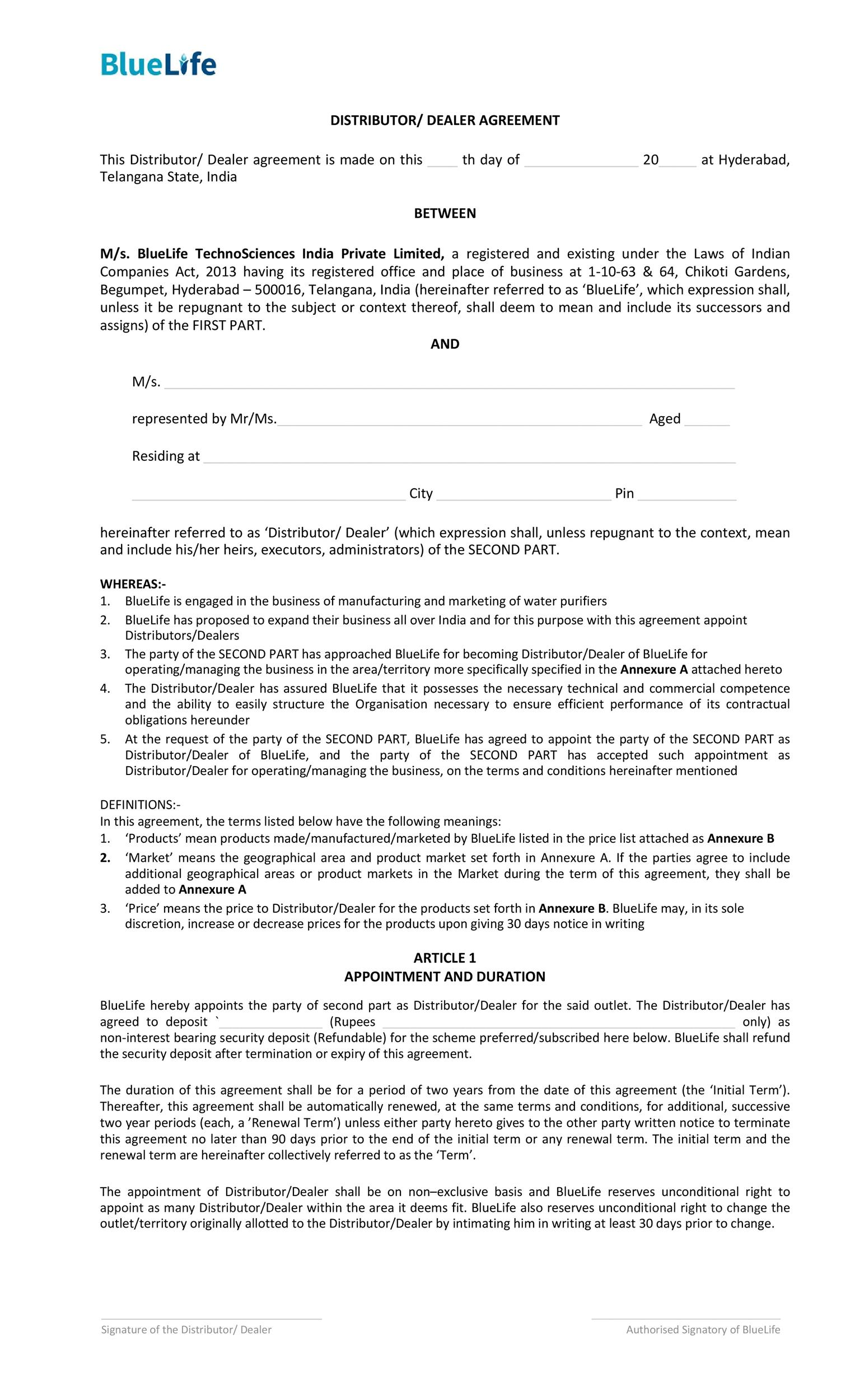 Free distribution agreement 37