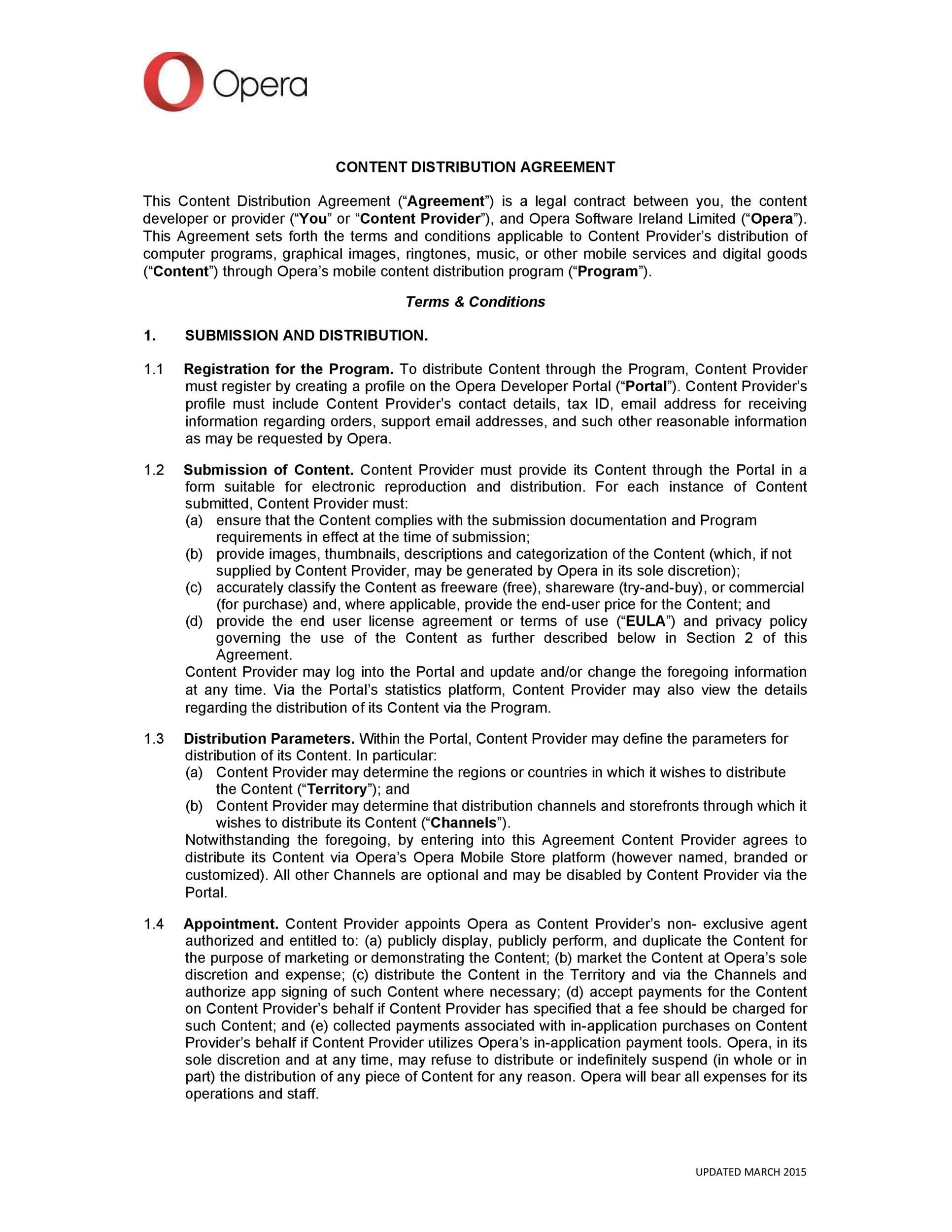 Free distribution agreement 45