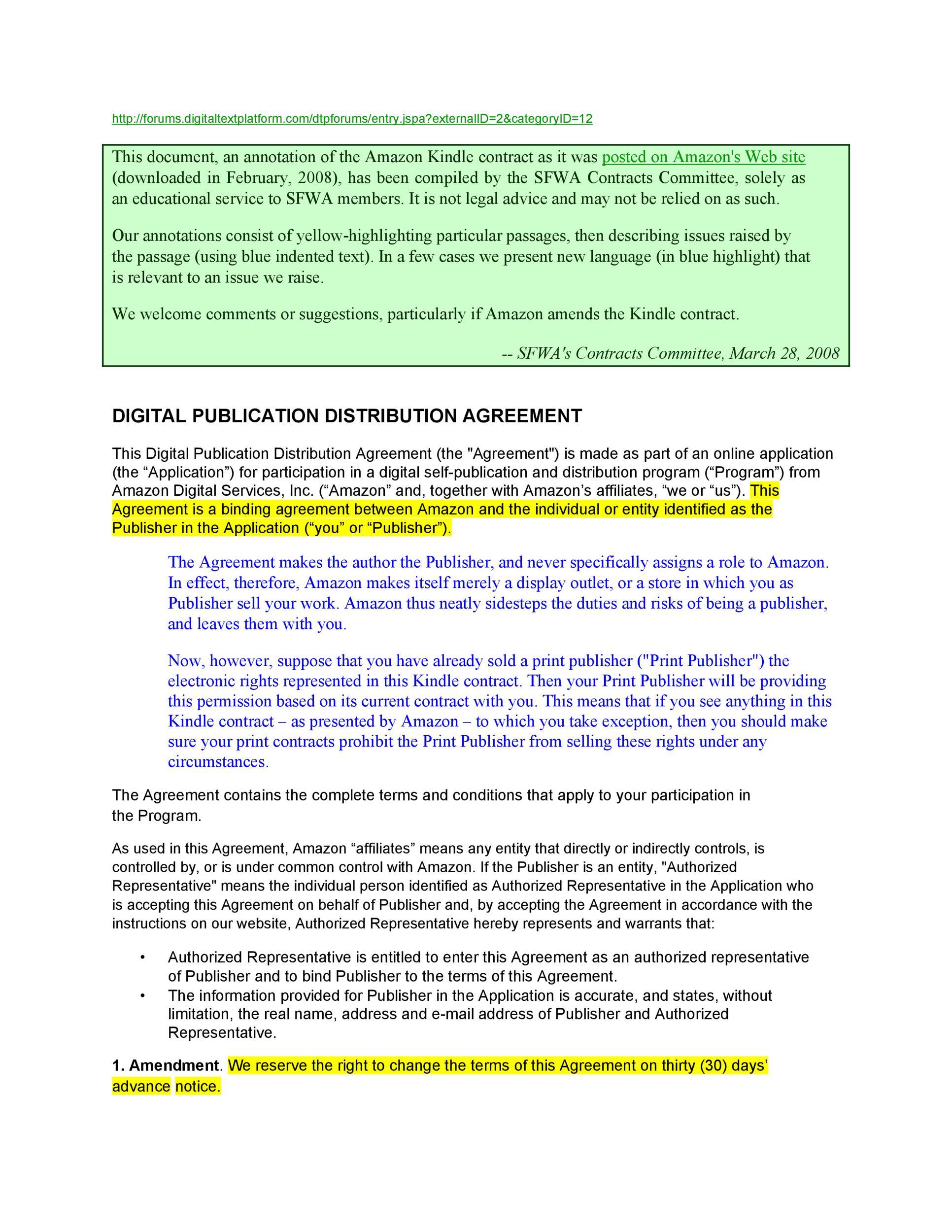 Free distribution agreement 48