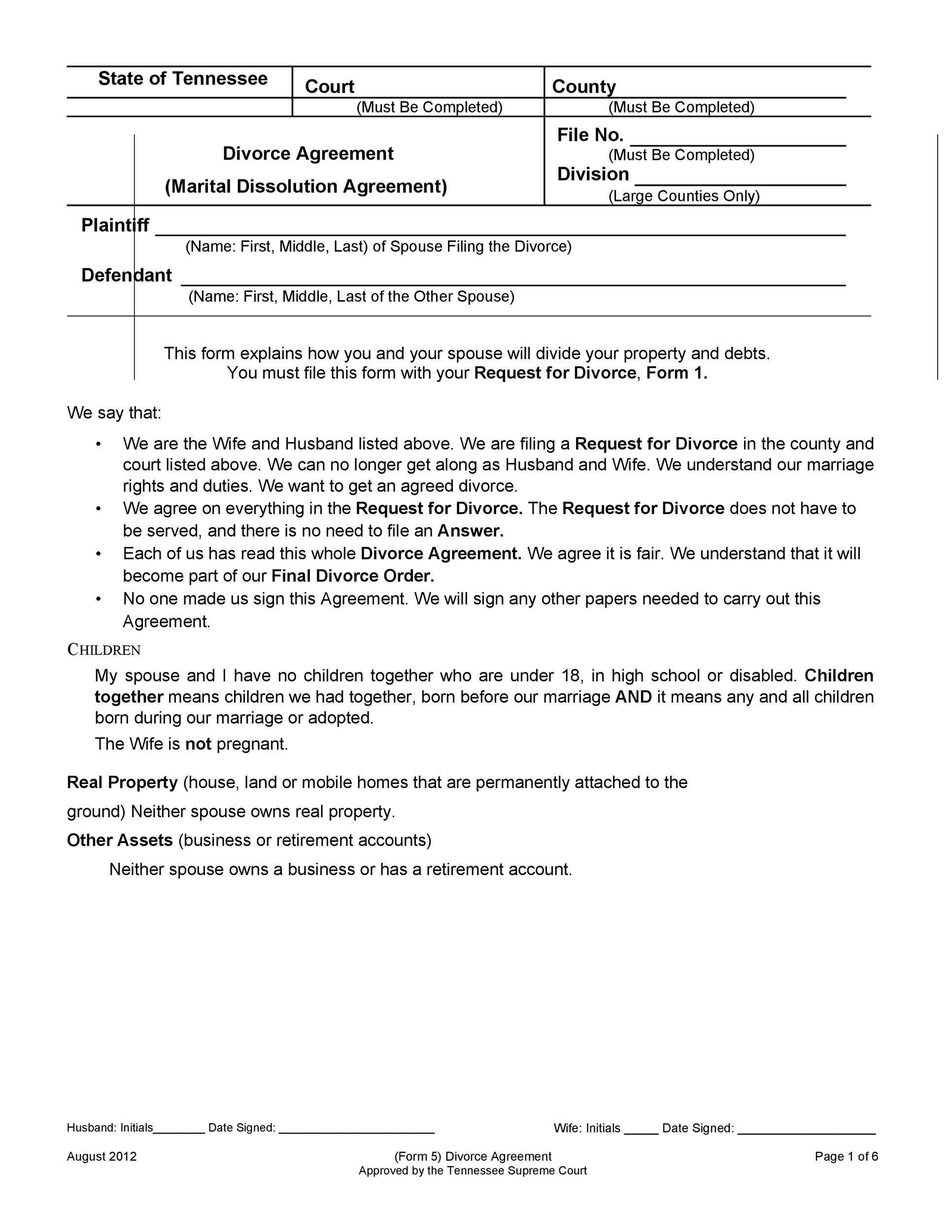 Free divorce agreement 01
