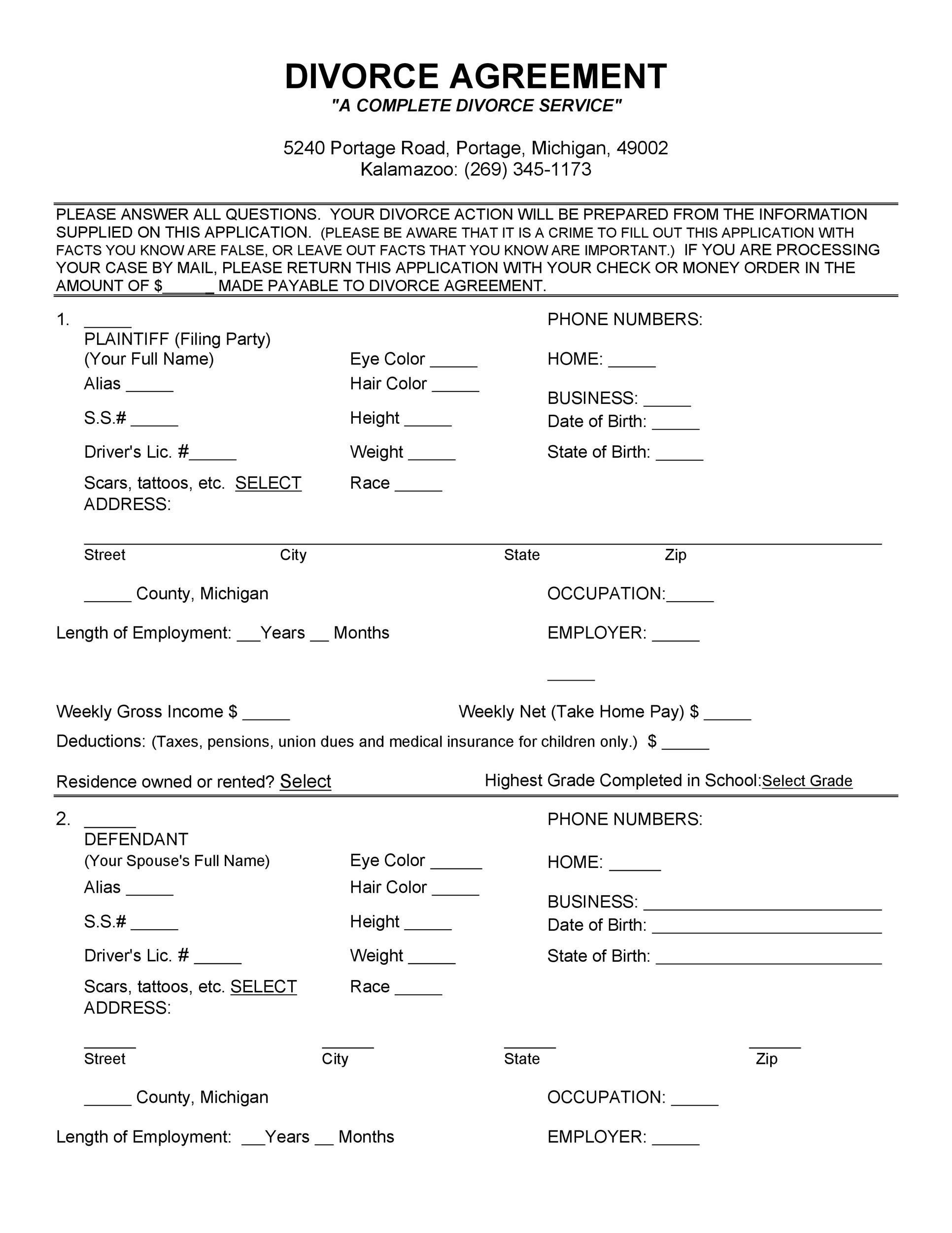 Free divorce agreement 02