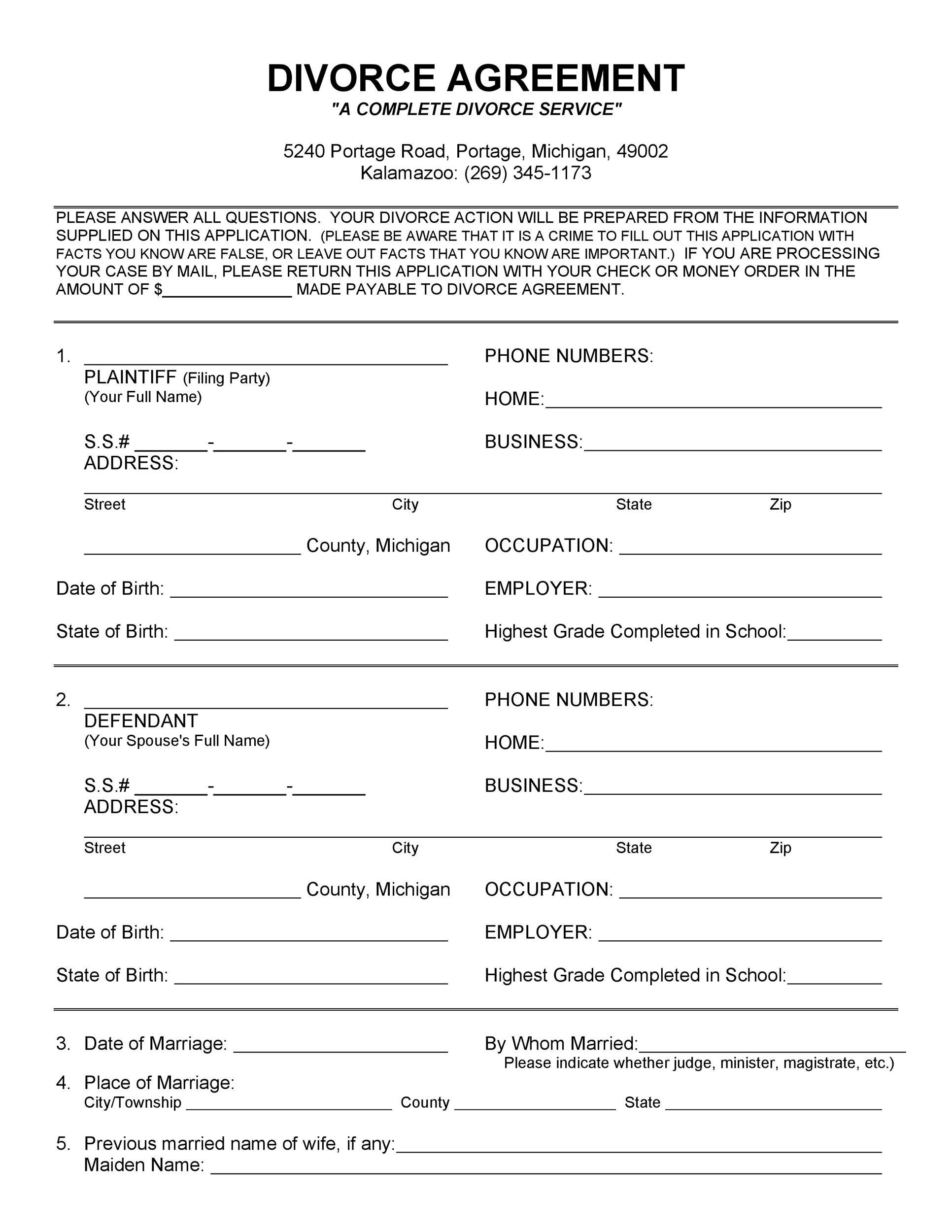 Free divorce agreement 03