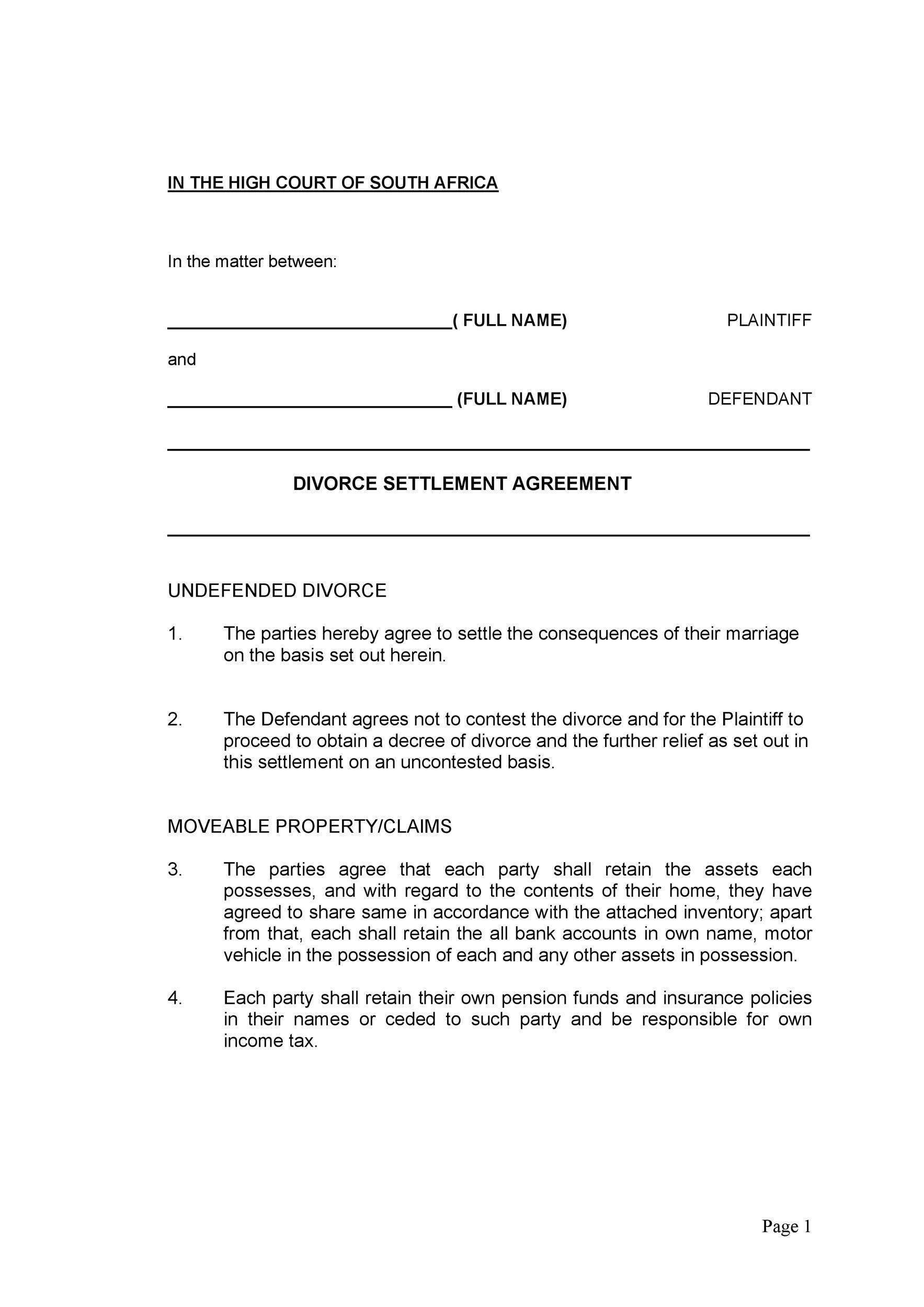 Free divorce agreement 05