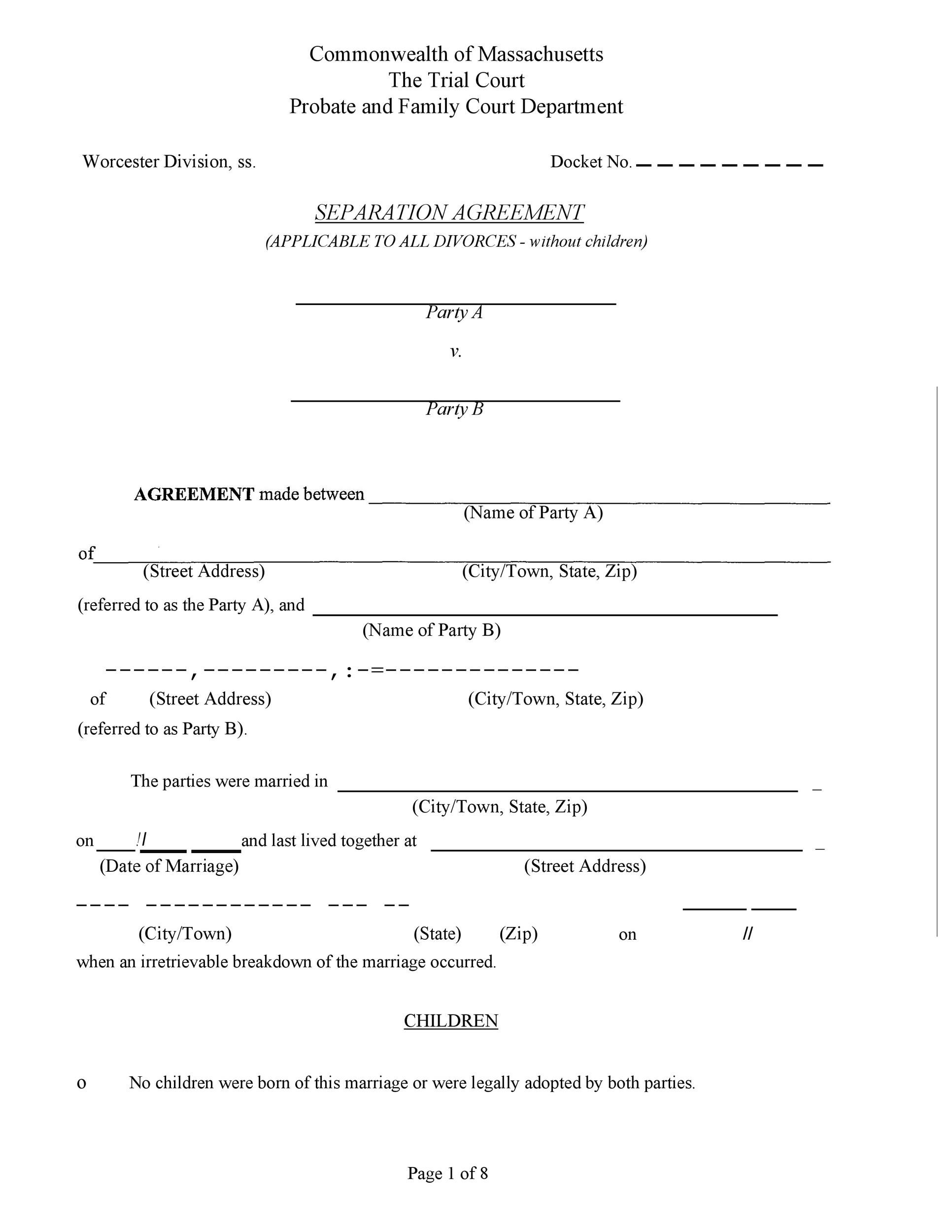 Free divorce agreement 09