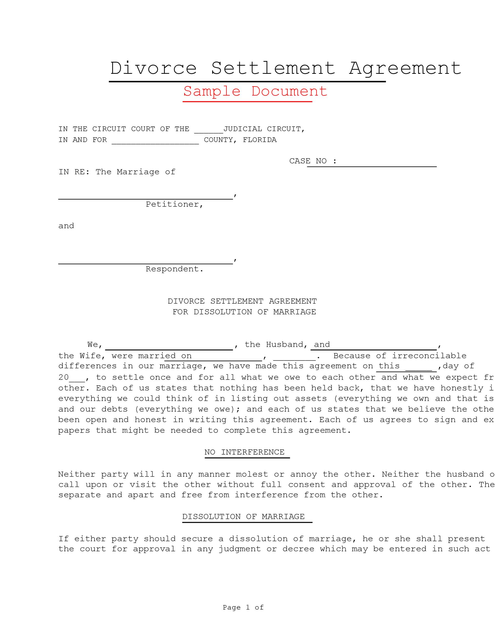 Free divorce agreement 12