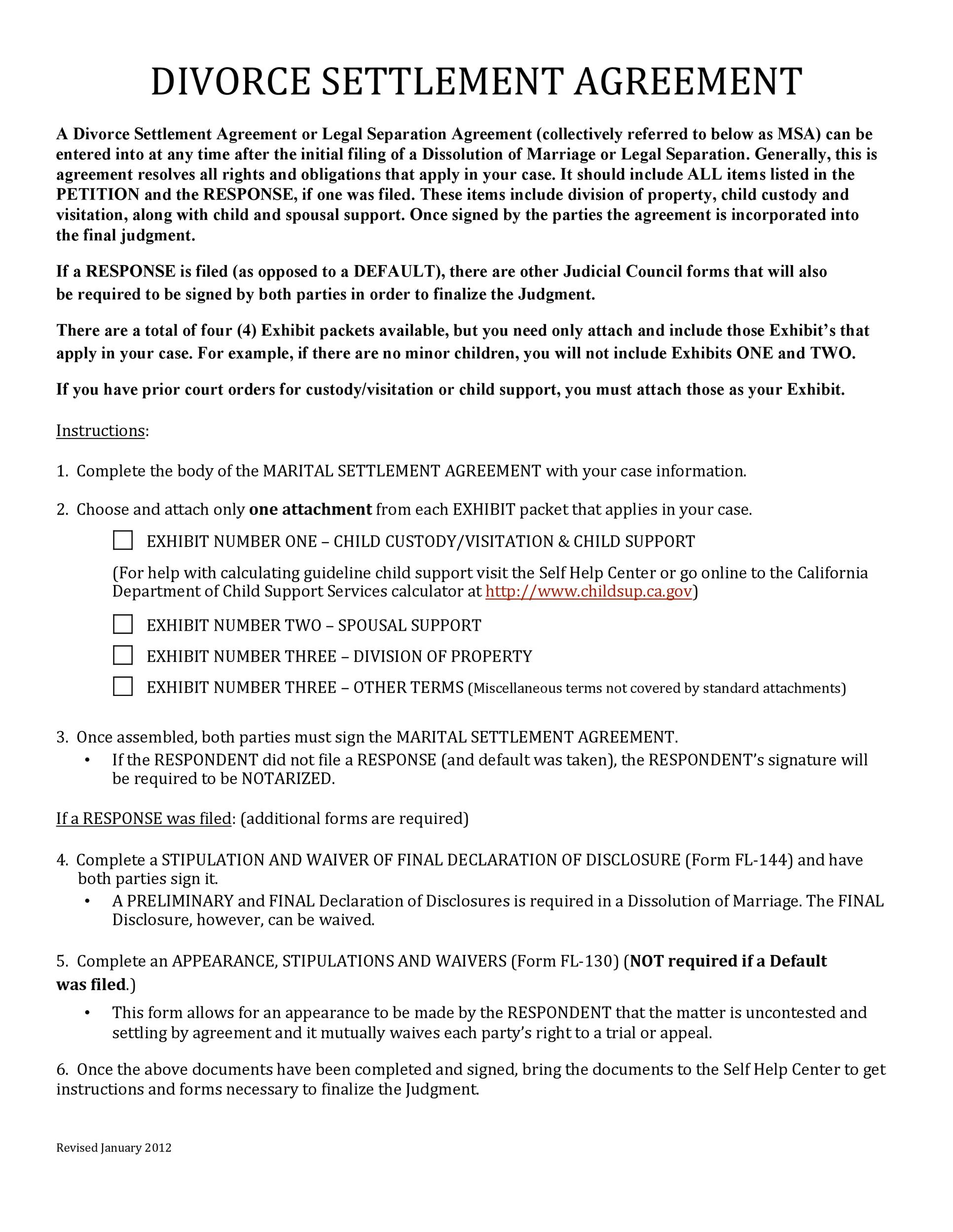 Free divorce agreement 14