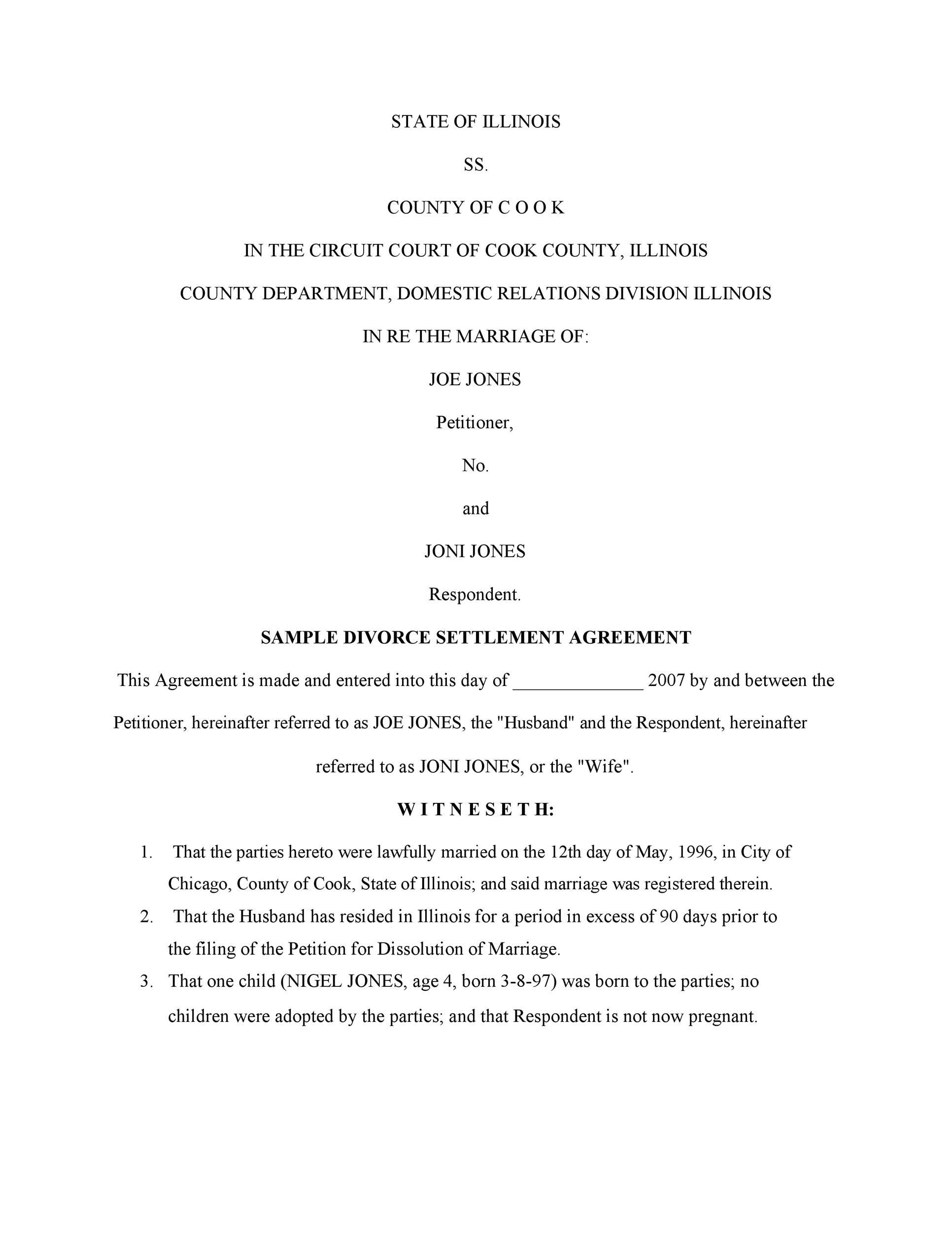Free divorce agreement 21