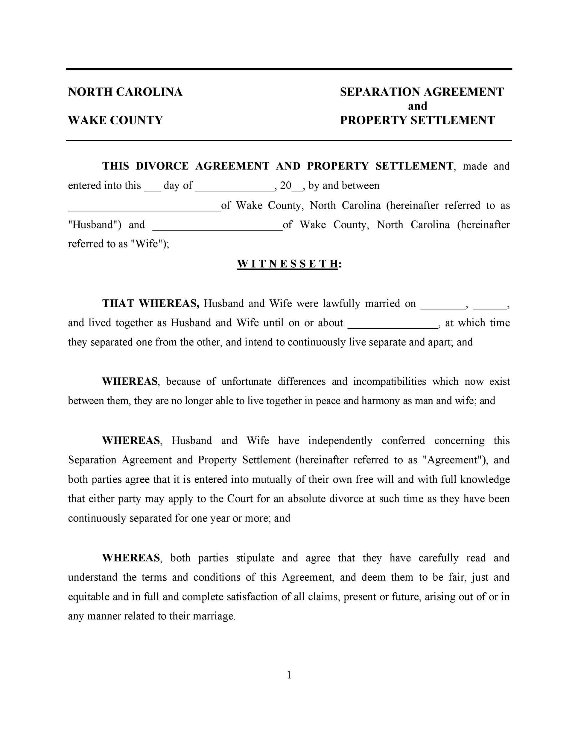 Free divorce agreement 24