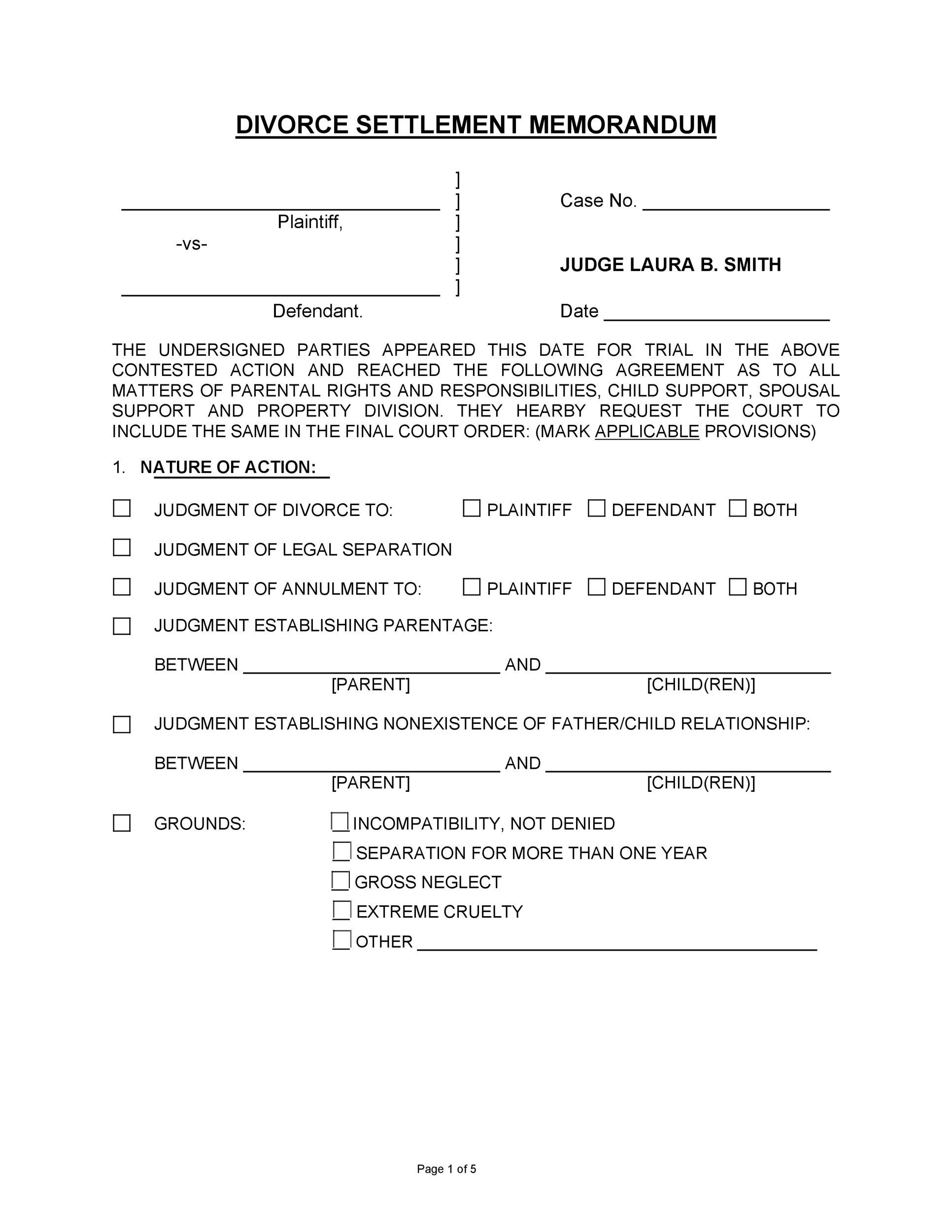 Free divorce agreement 30