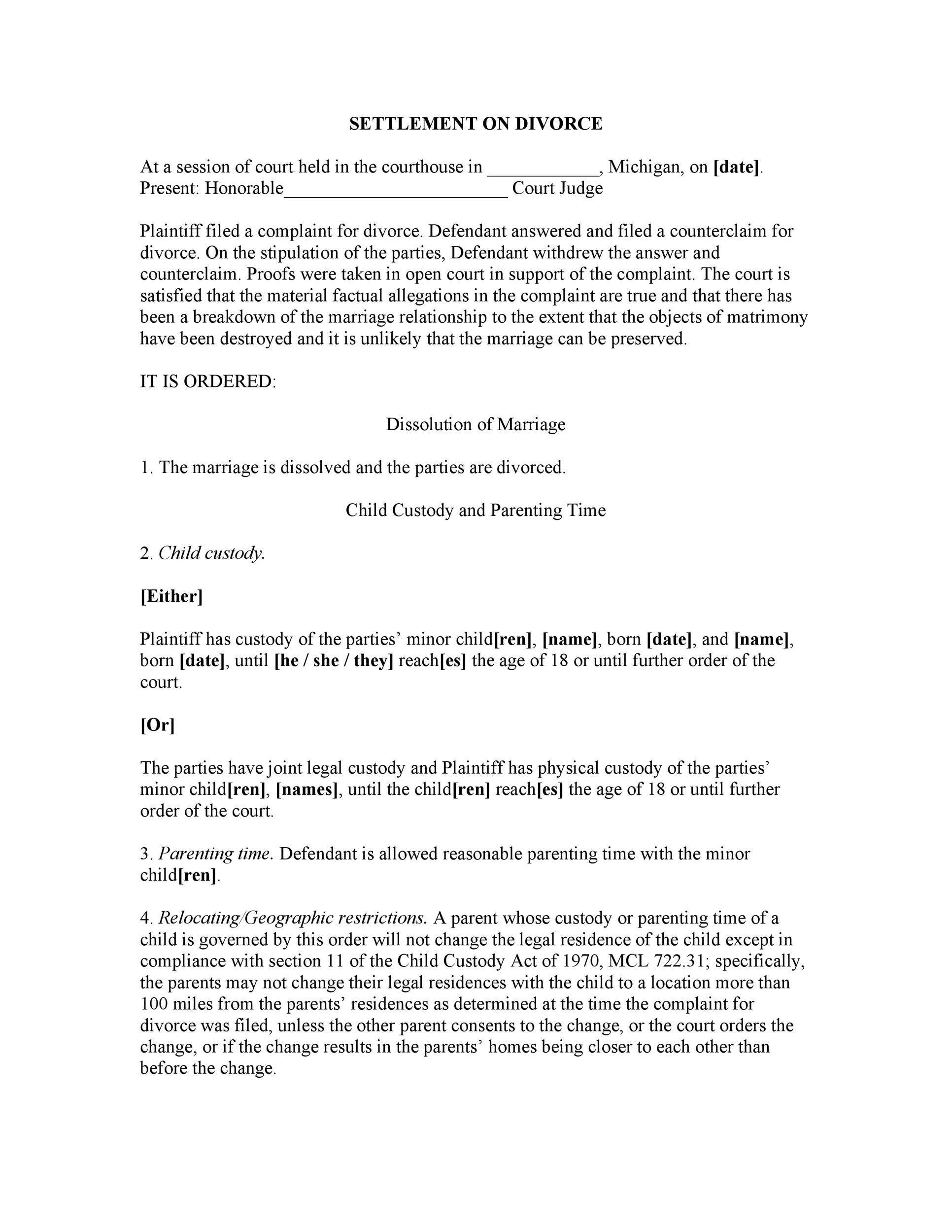 Free divorce agreement 31