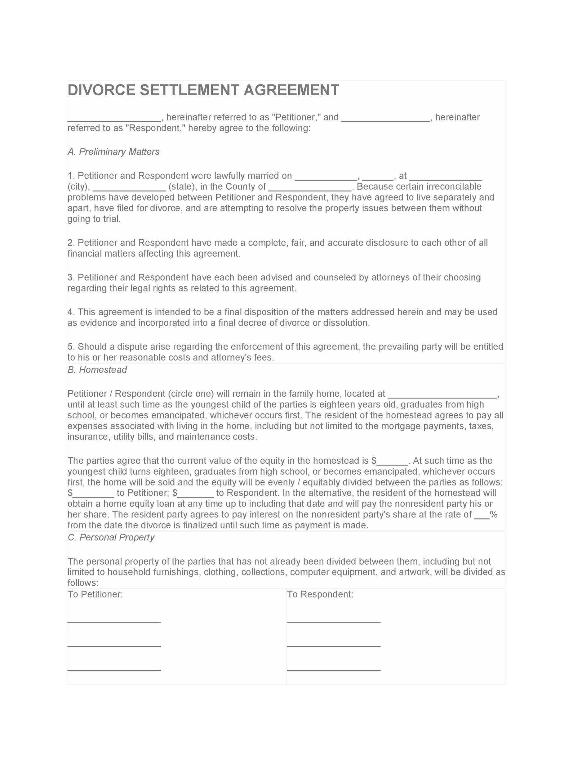 42 Divorce Settlement Agreement Templates 100 Free ᐅ