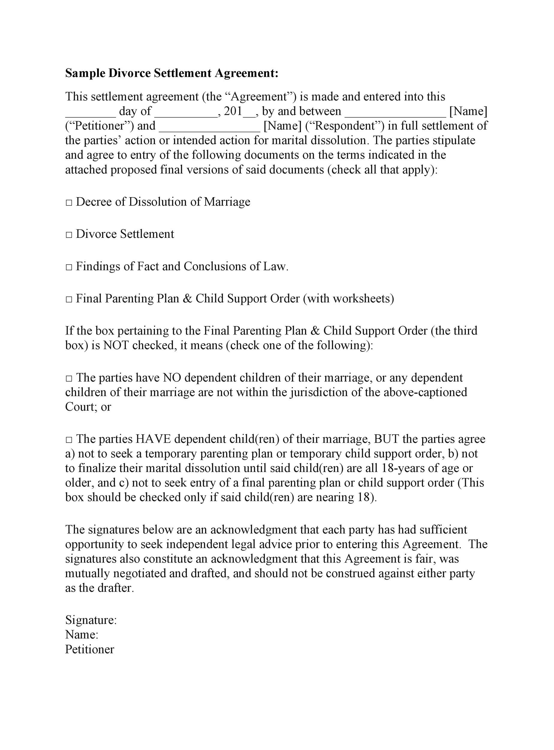 Free divorce agreement 35