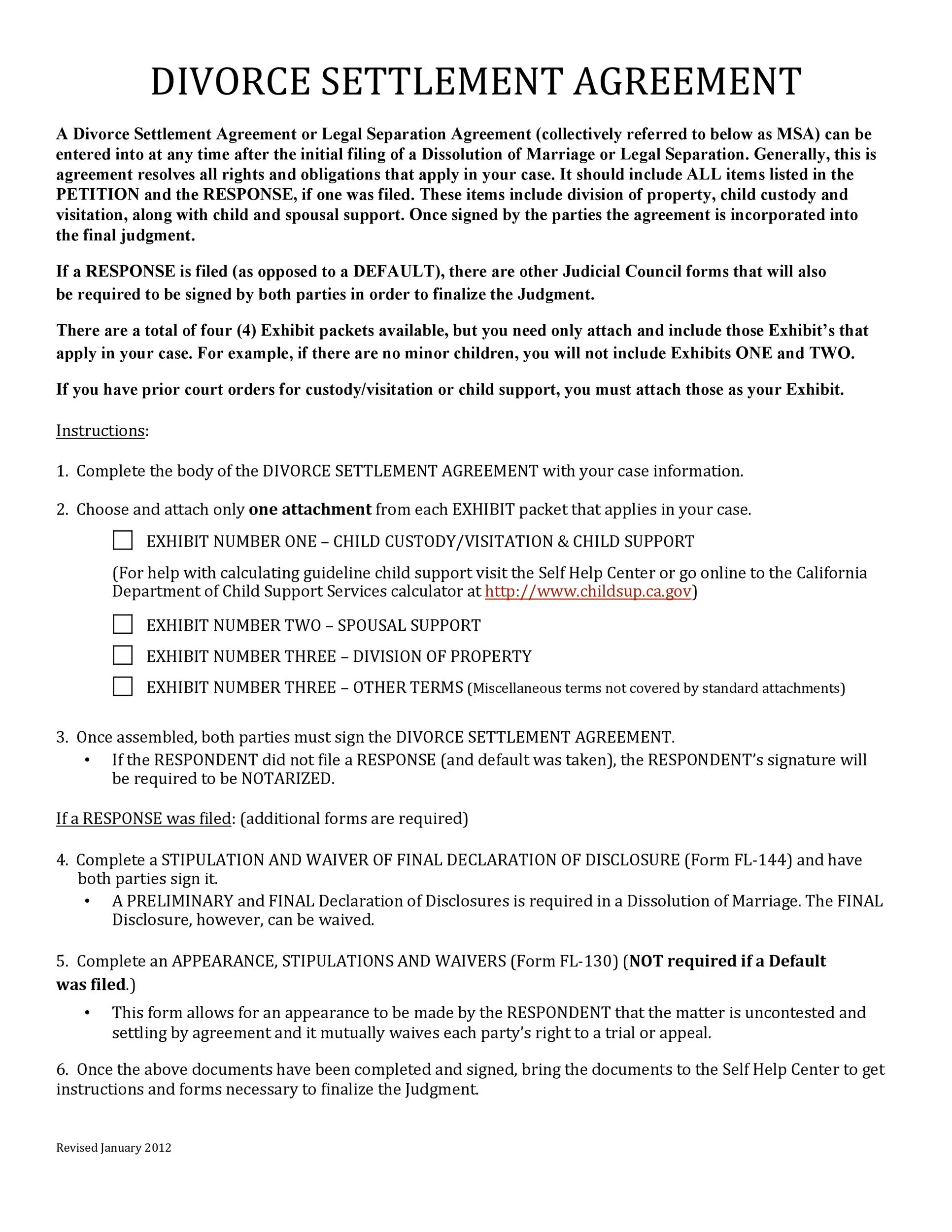 Free divorce agreement 39