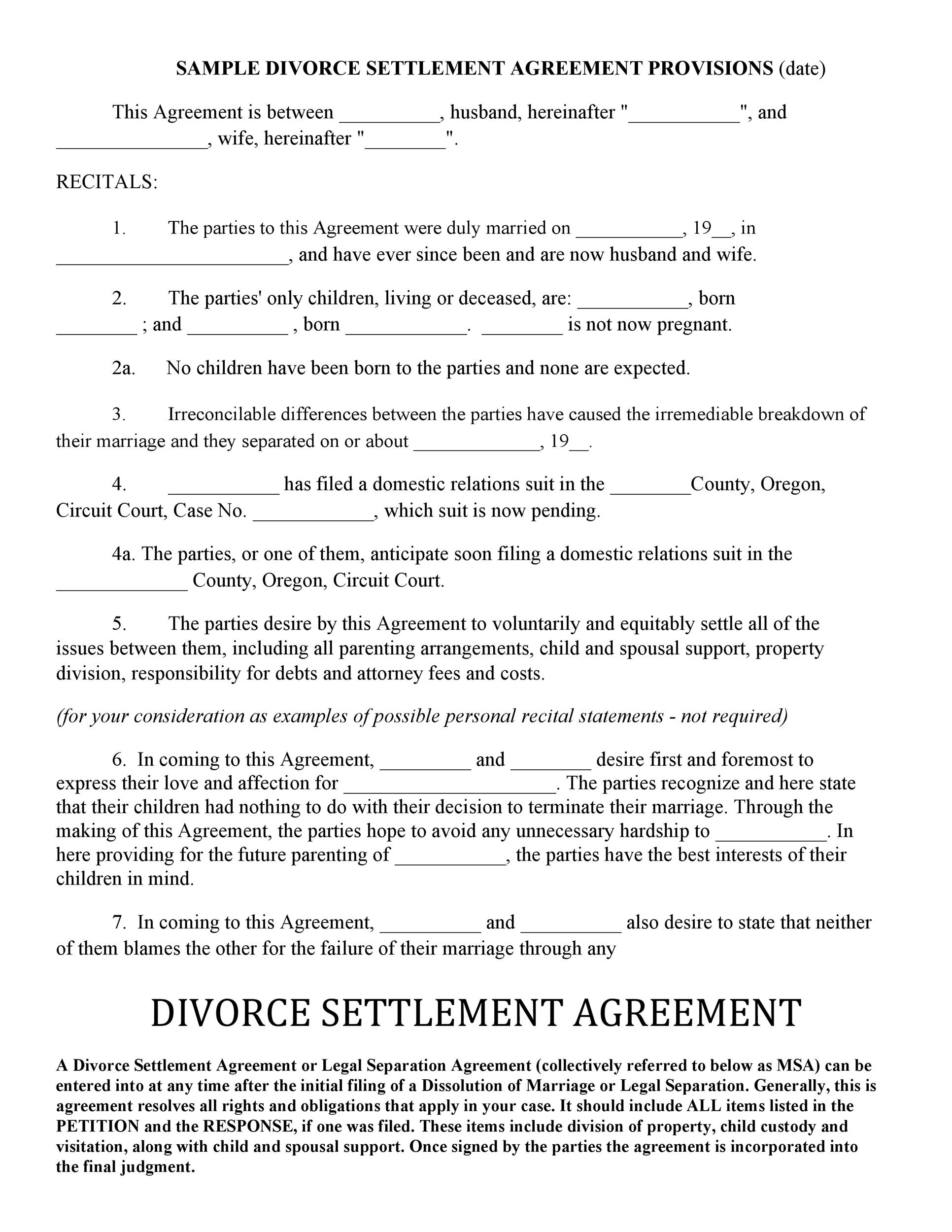 Free divorce agreement 40