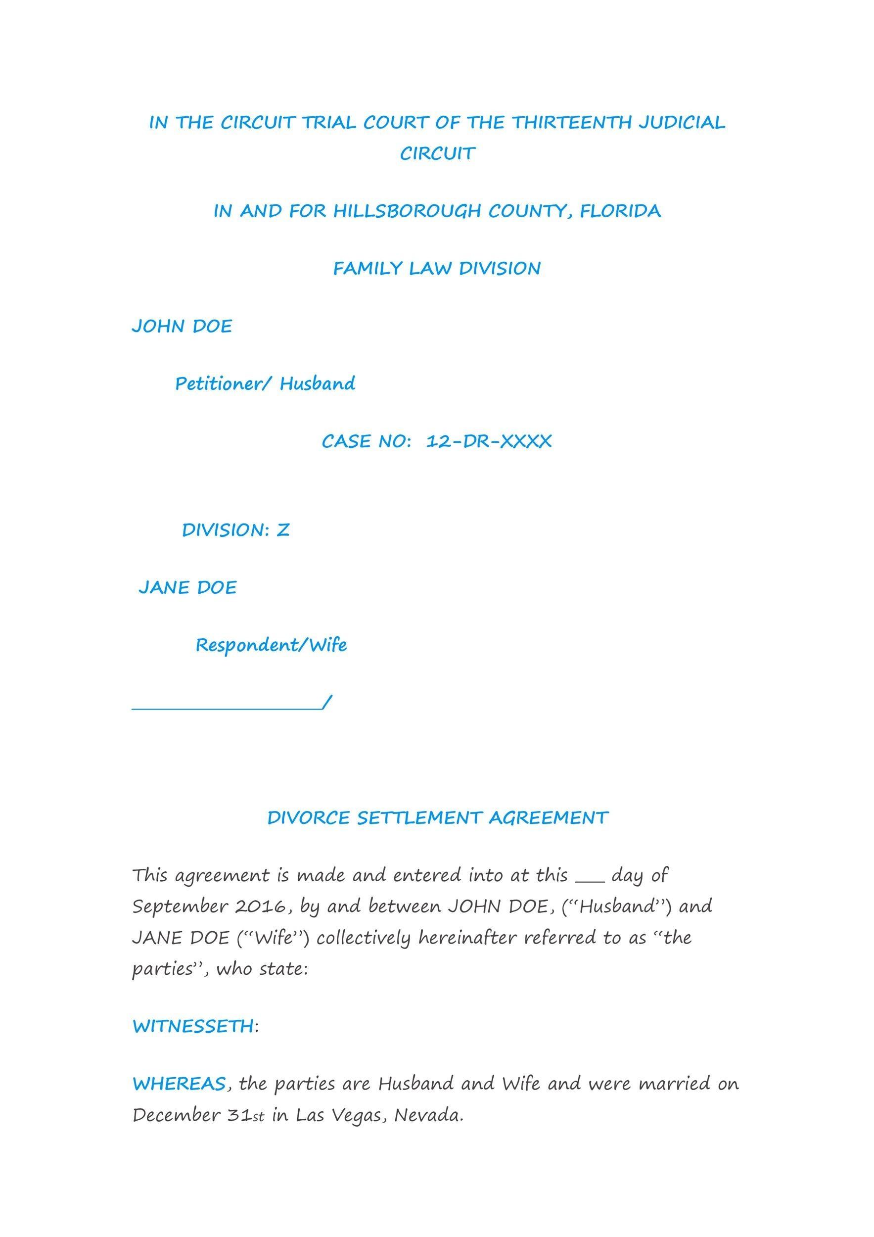 Free divorce agreement 41
