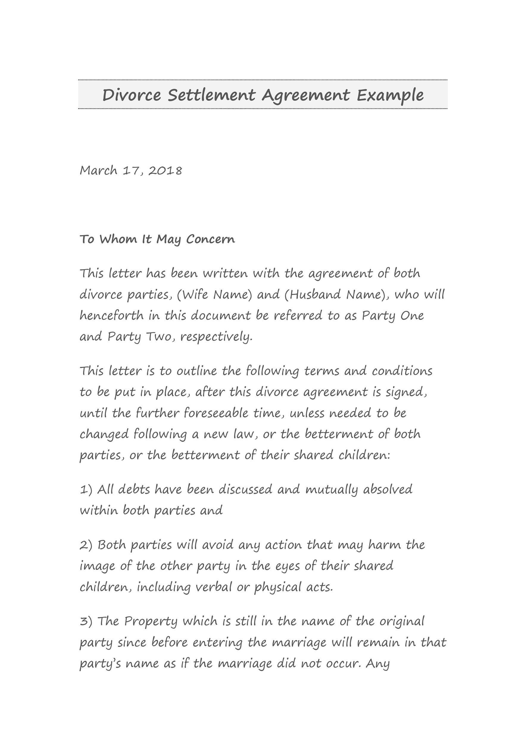 Free divorce agreement 42