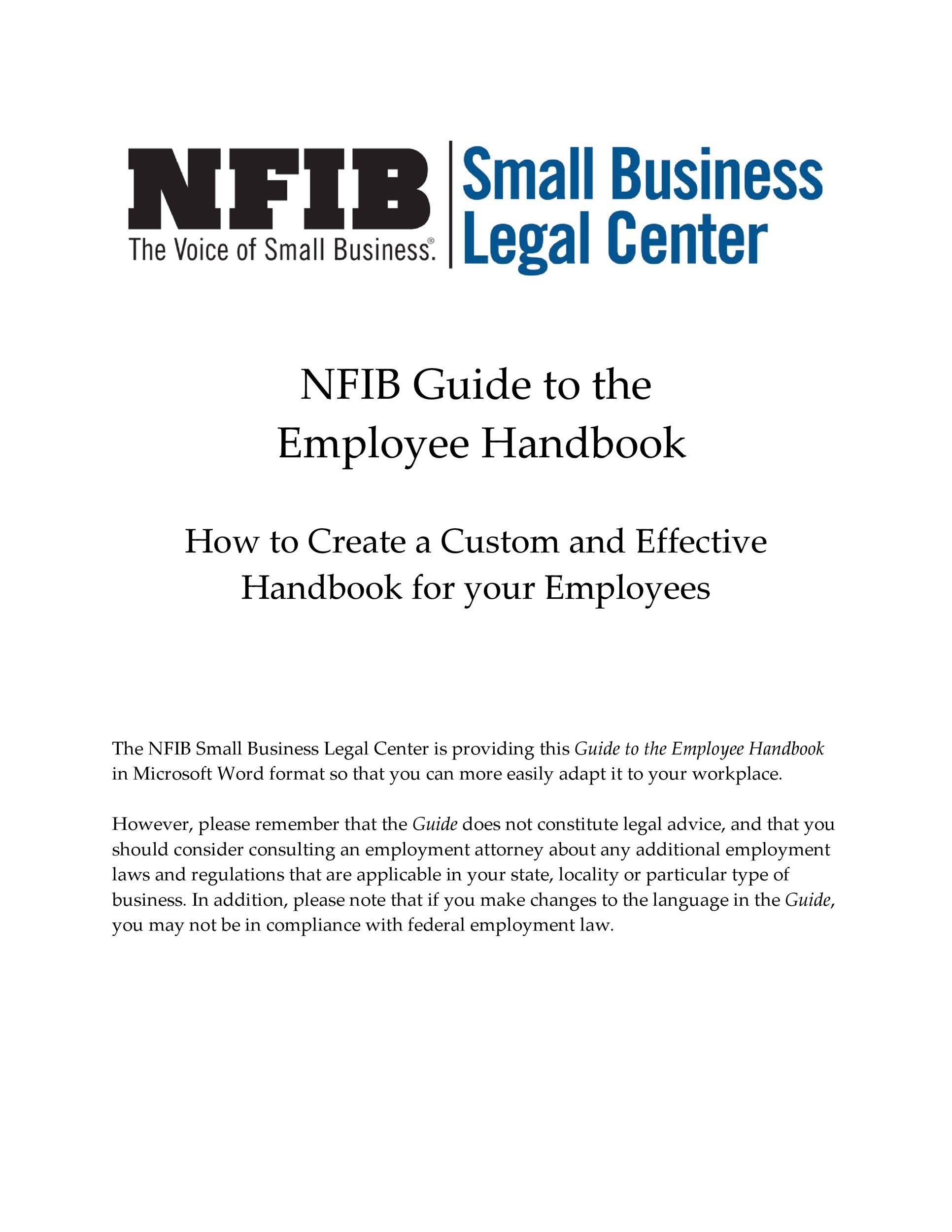 Free employee handbook template 01
