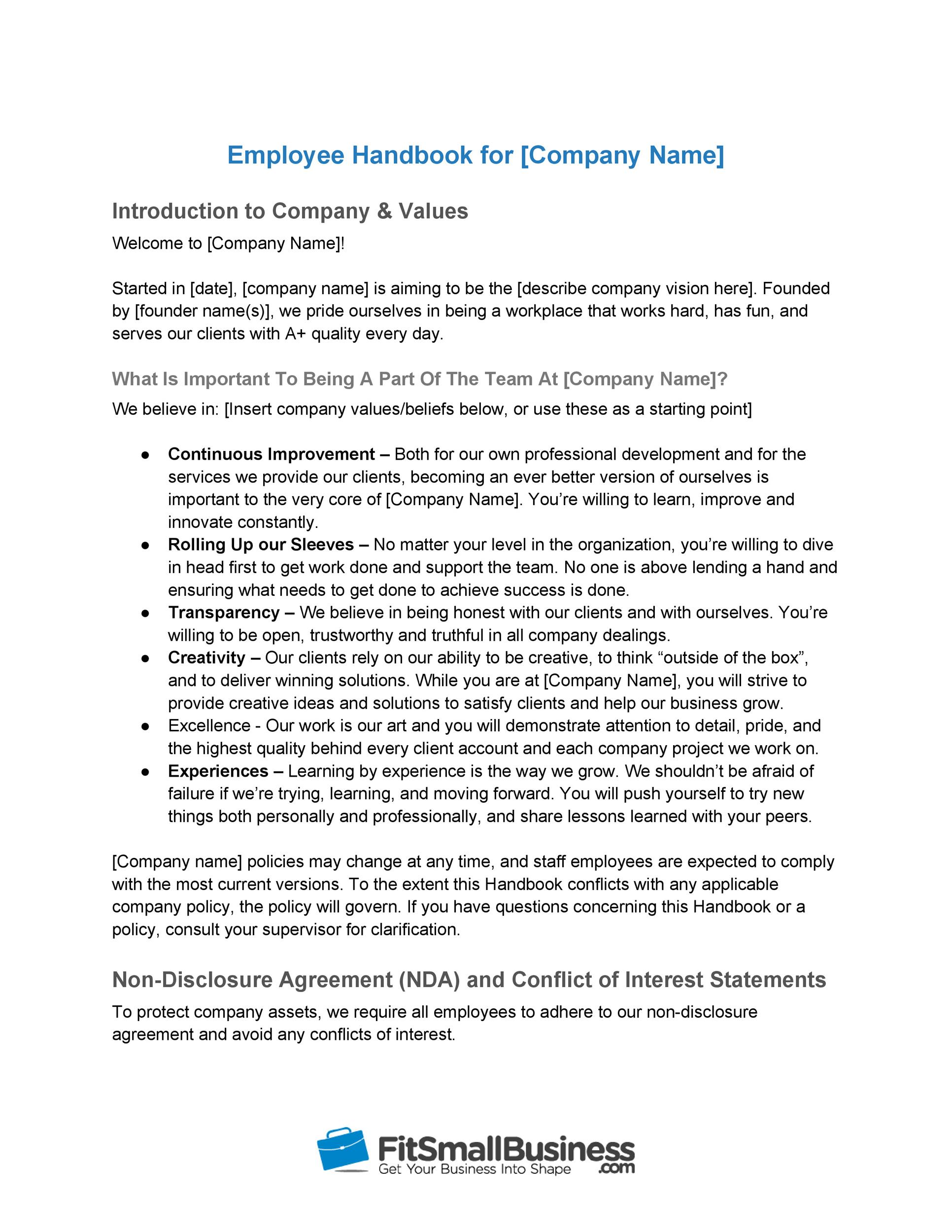 Free employee handbook template 04