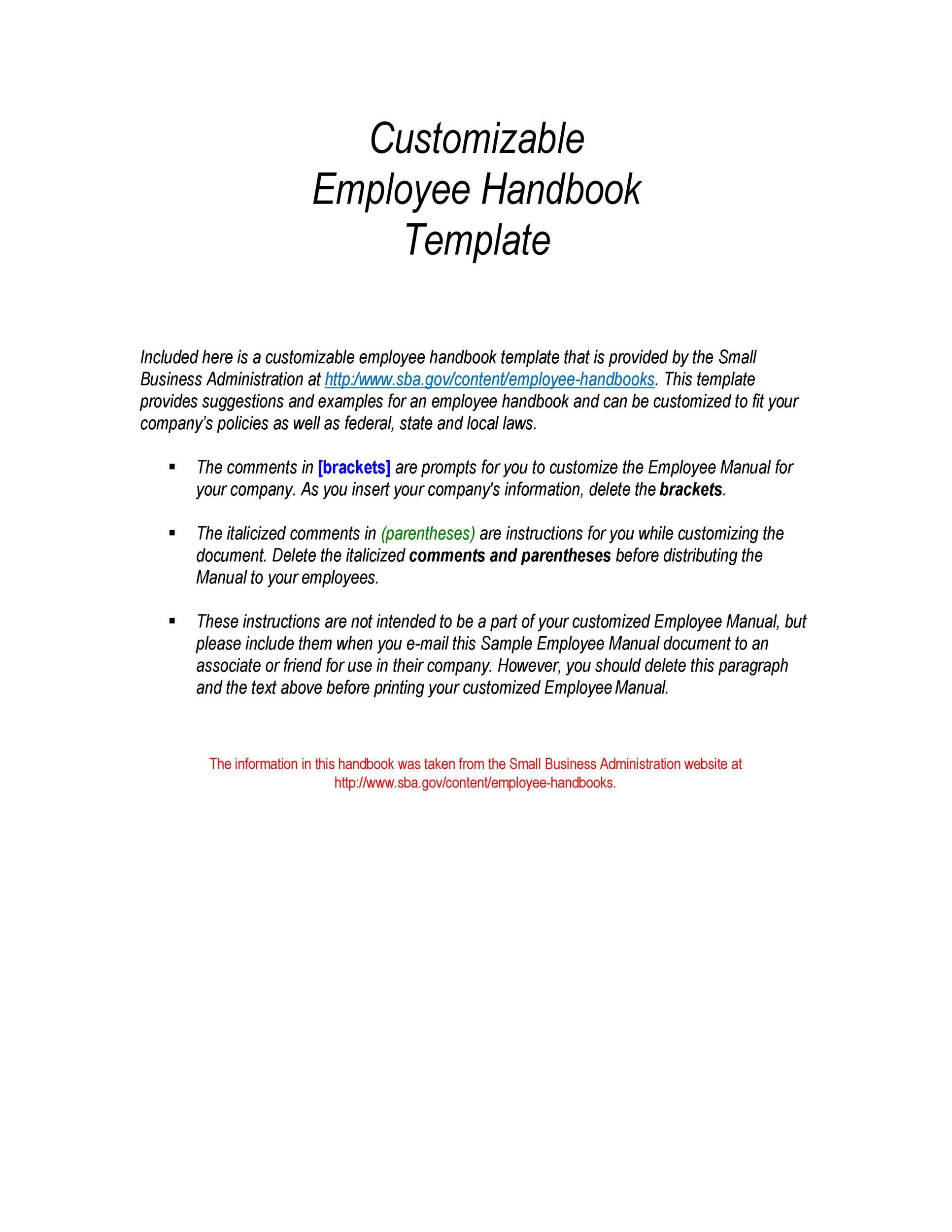 Free employee handbook template 07